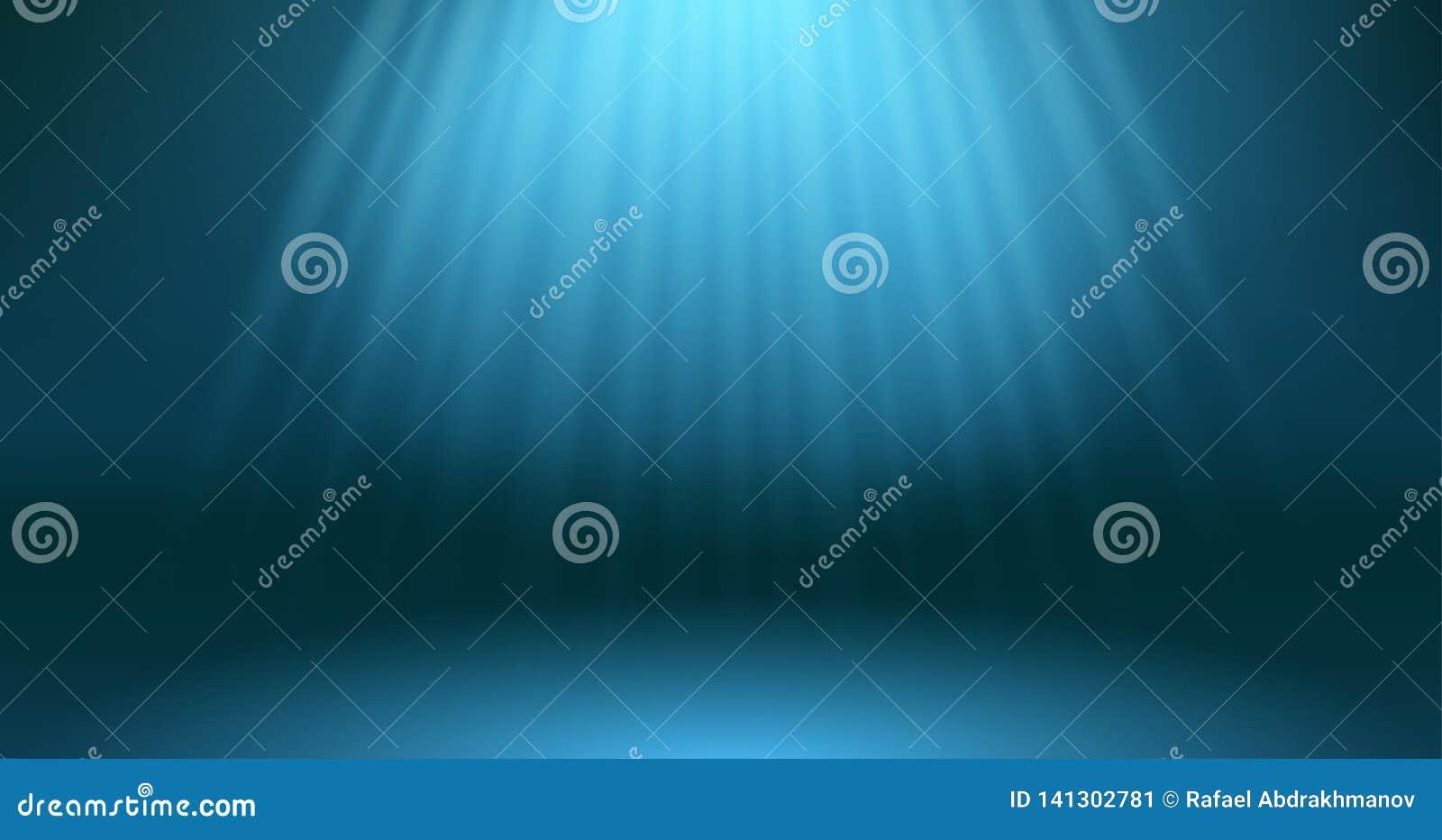 Zmrok - błękitna ocean powierzchni głębii scena Abstrakcjonistyczni promienie słońce przez głębii podwodny tło _ niebieskie morze