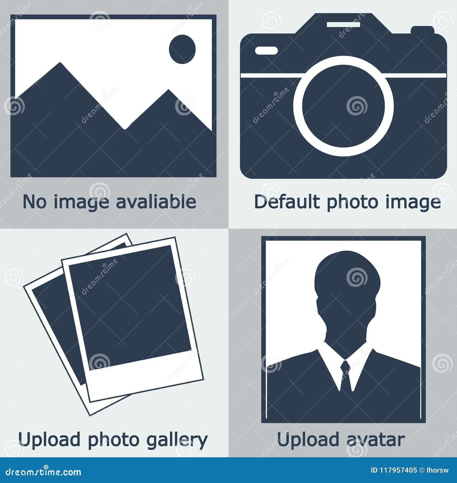 Zmrok - błękita żadny wizerunek dostępny set, żadny fotografia: pusty obrazek, kamera, fotografii ikona i silhouet,