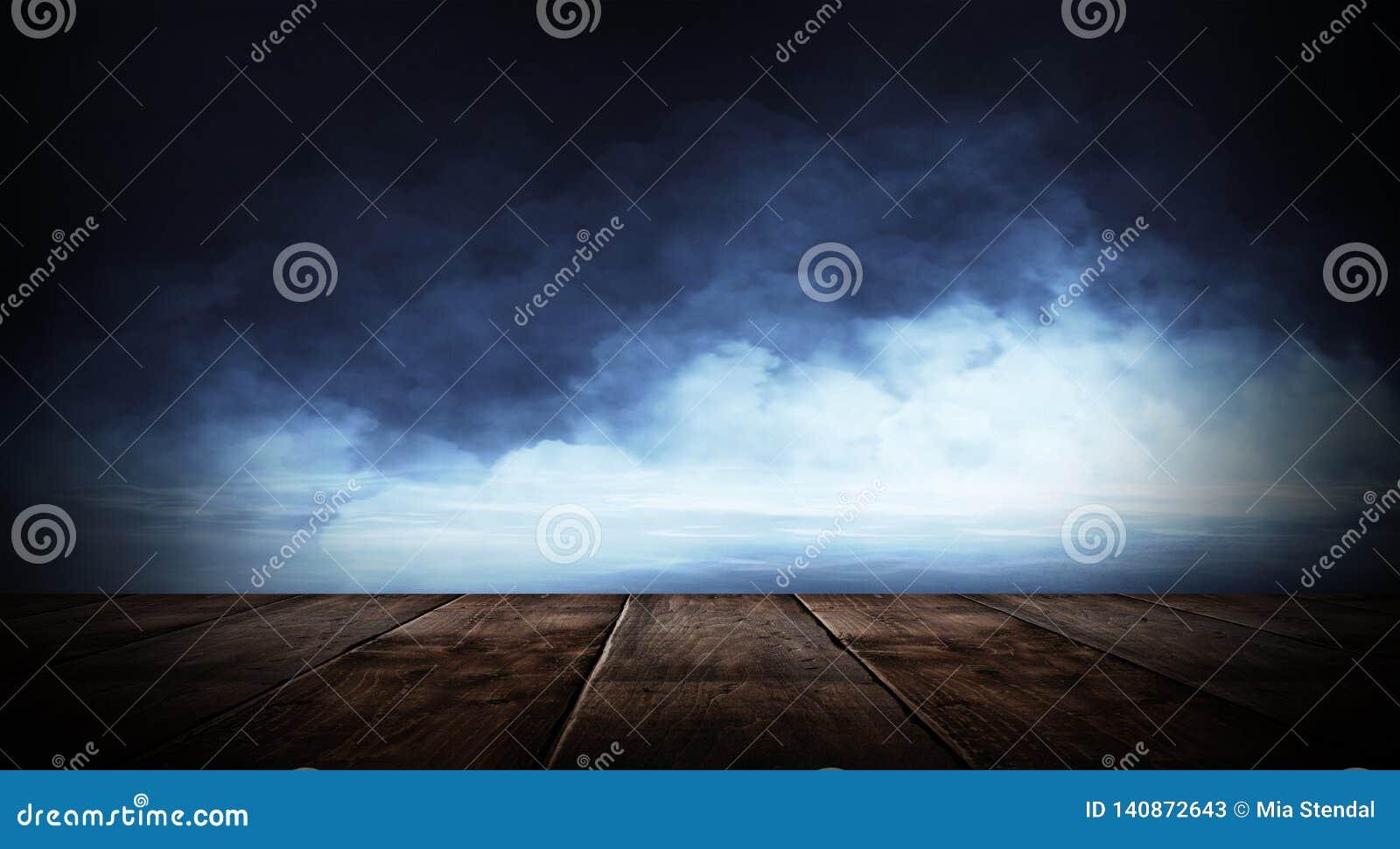 Zmroku pusty pokój z ścianami z cegieł i neonowymi światłami, dym, promienie