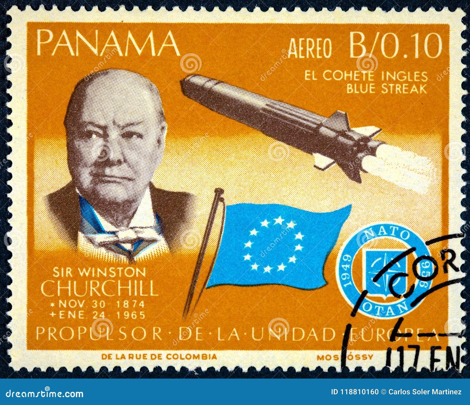 Znaczek drukujący Panama pokazuje Sir Winston Churchill i rakiety błękita smugę