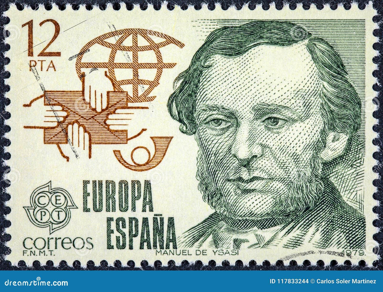 Znaczek drukujący w Hiszpania pokazuje Manuel De Ysasi