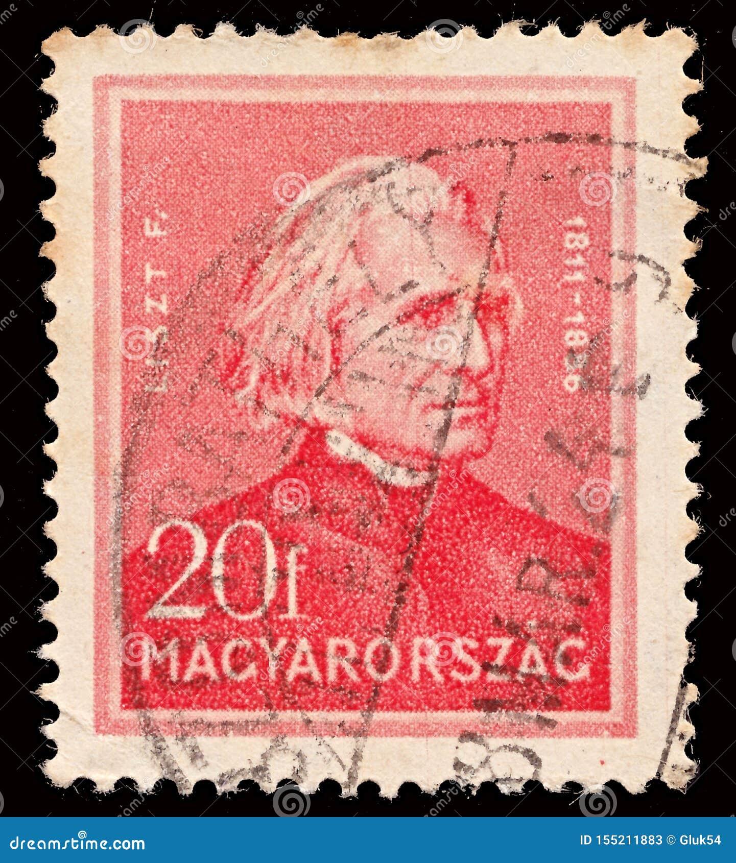 Znaczek drukujący w Węgry pokazuje Ferenc Franz Liszt 1811-1886 kompozytora, osobowości seria około 1932,