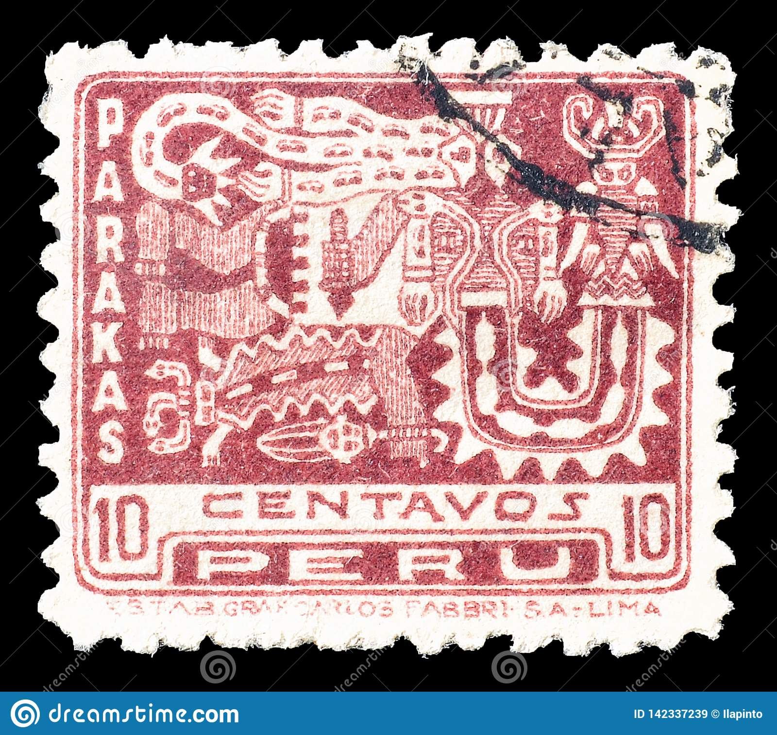 Znaczek pocztowy drukujący Peru