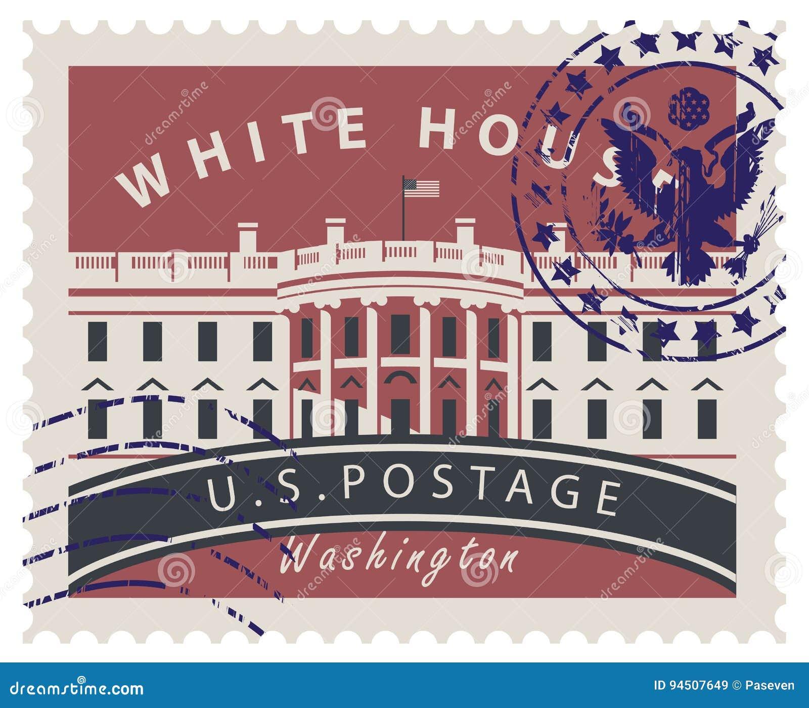 Znaczek pocztowy z bielu domem w washington dc