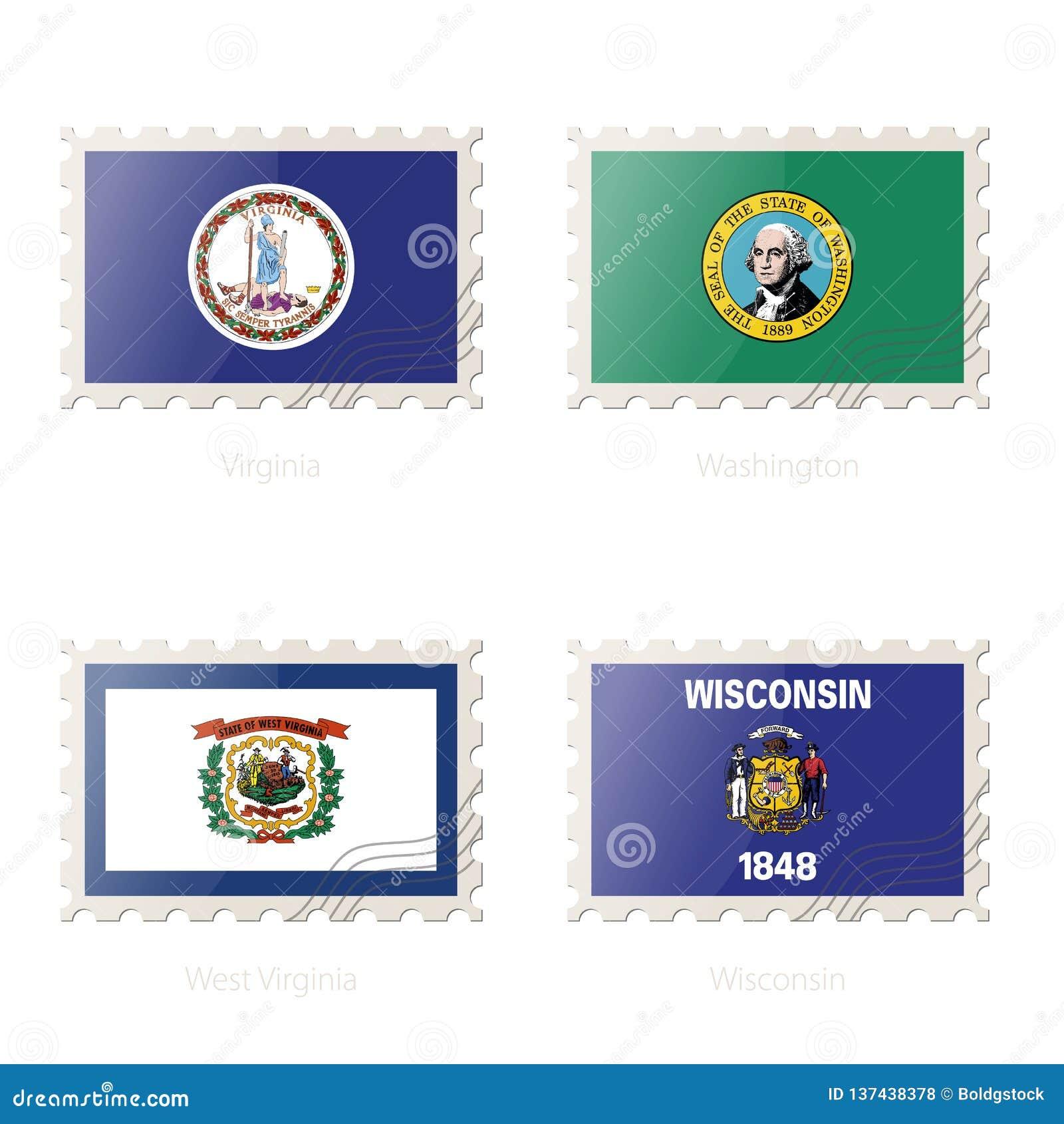 Znaczek pocztowy z wizerunkiem Virginia, Waszyngton, Zachodnia Virginia, Wisconsin stanu flaga