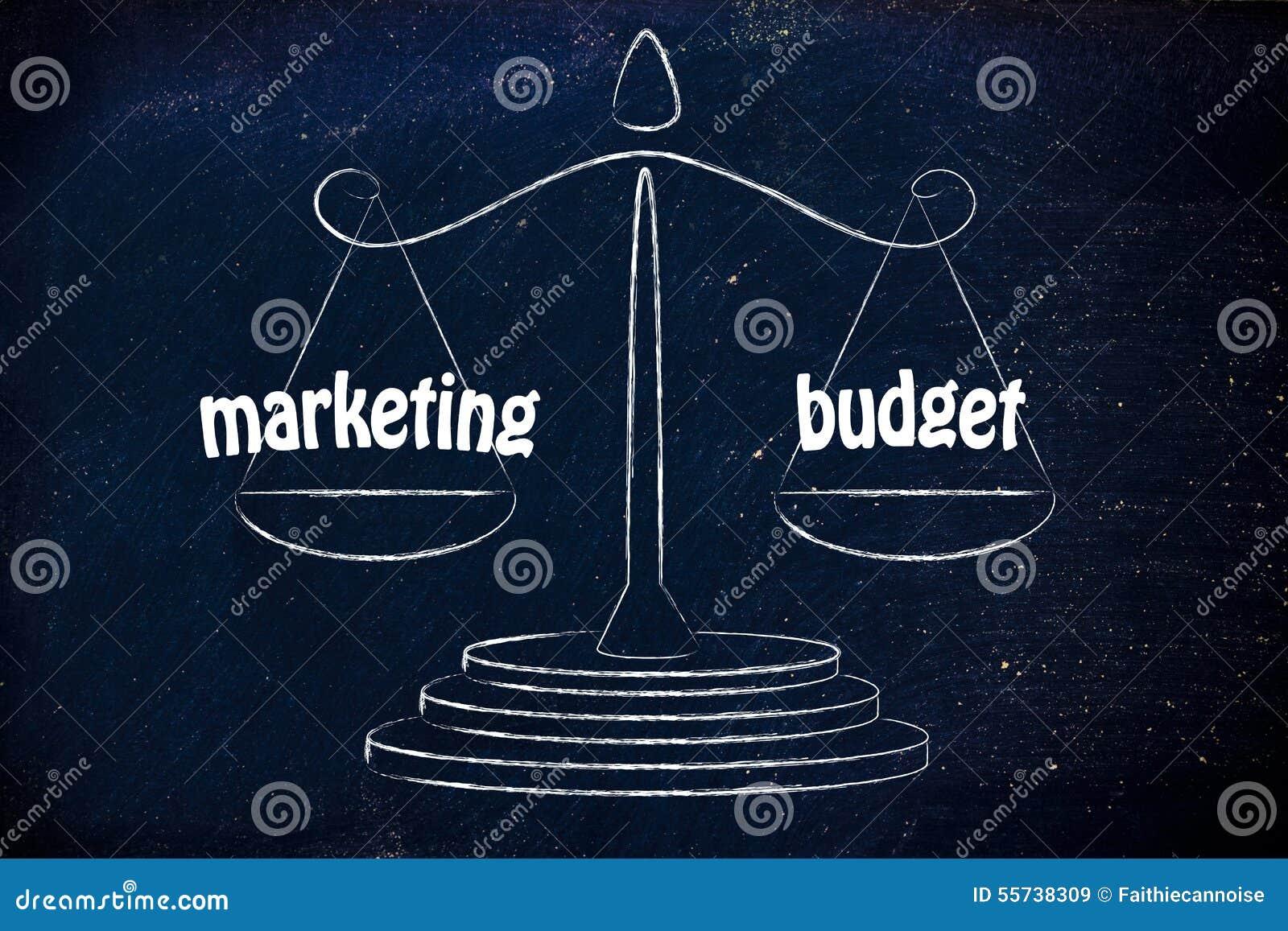 Znajdować dobrą równowagę w biznesie: wprowadzać na rynek & budżeta wartości