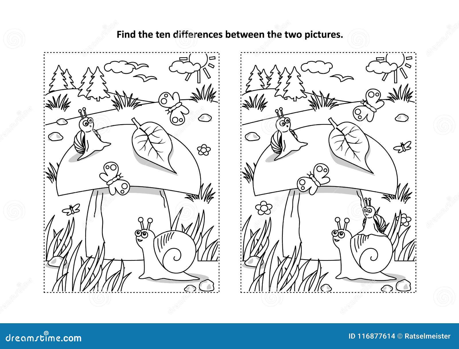 Znajduje różnicy kolorystyki, łamigłówki wizualną stronę z i