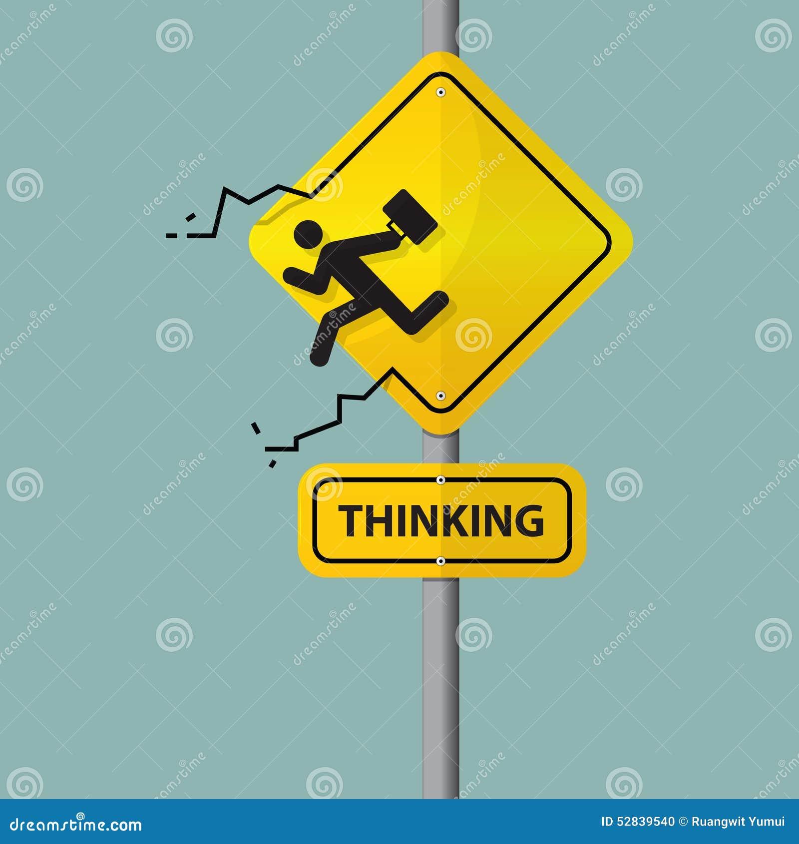 Znak biznesmen ikona myśleć z pudełka który Piktogram na drogowym znaku