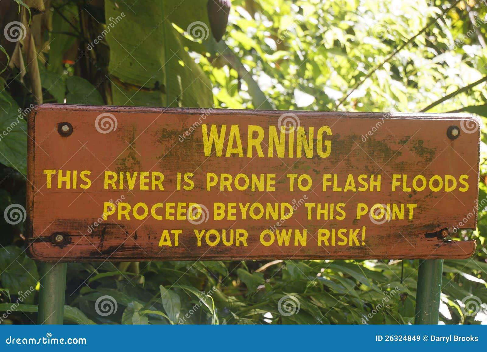 Znak Ostrzegawczy przy Dżungli Rzeką