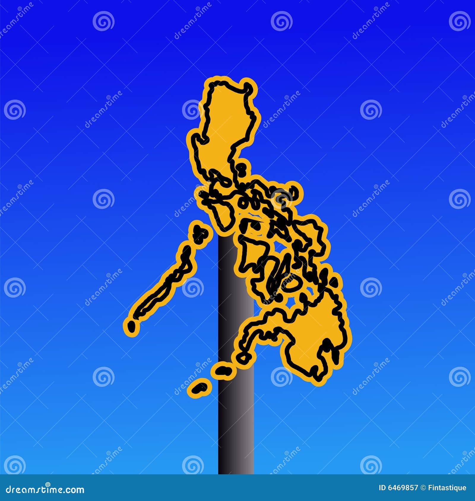 Znak Philippines ostrzeżenie map
