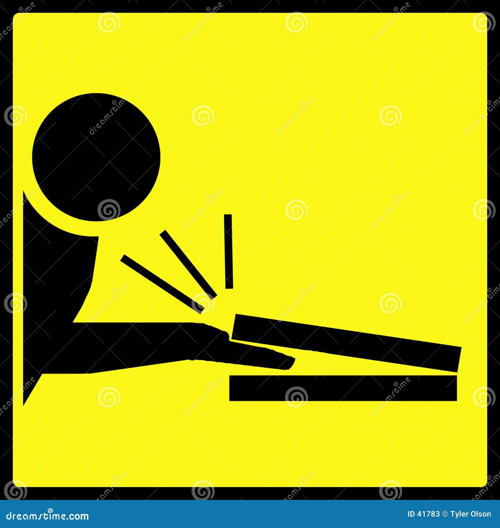 Znak szczypający ostrzeżenie palec
