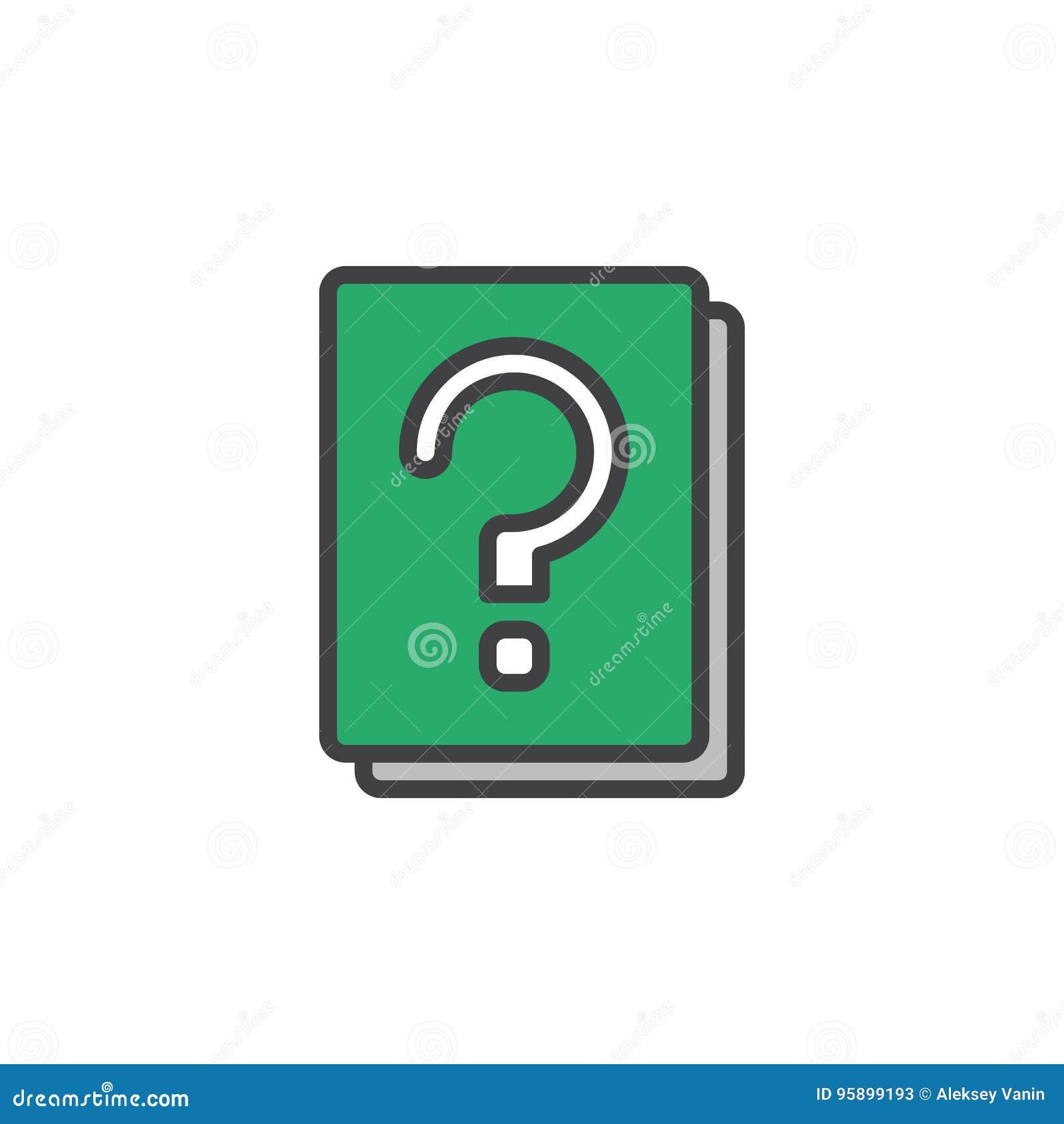 Znaka zapytania konturu książka wypełniająca ikona, kreskowy wektoru znak, liniowy kolorowy piktogram