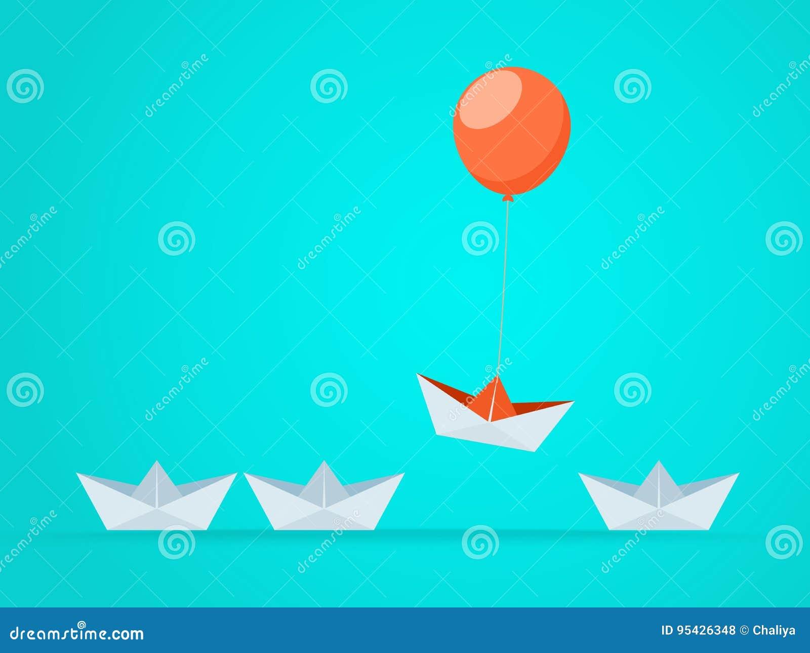 Znakomity łódź wzrasta above z balonem Biznesowe przewag sposobności i sukcesu pojęcie