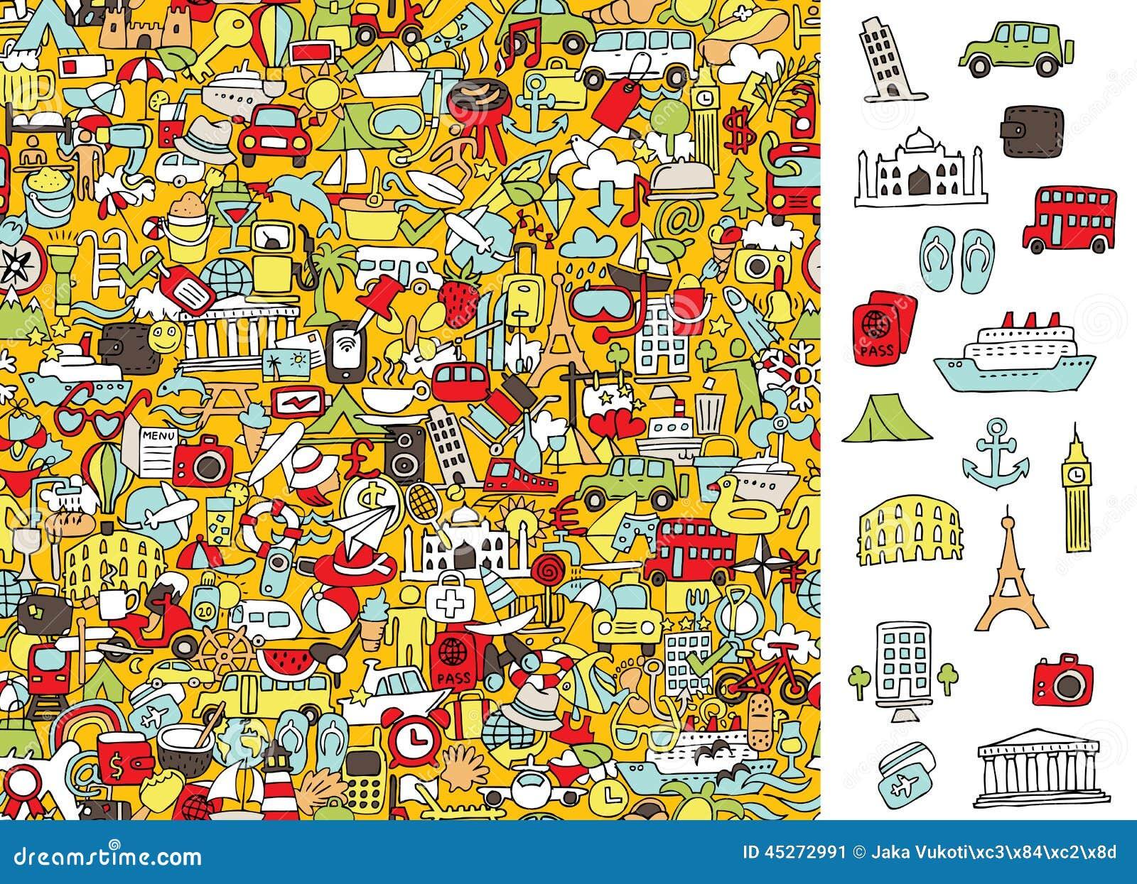 Znaleziska dobra podróży ikony, wizualna gra Rozwiązanie w chowanej warstwie!