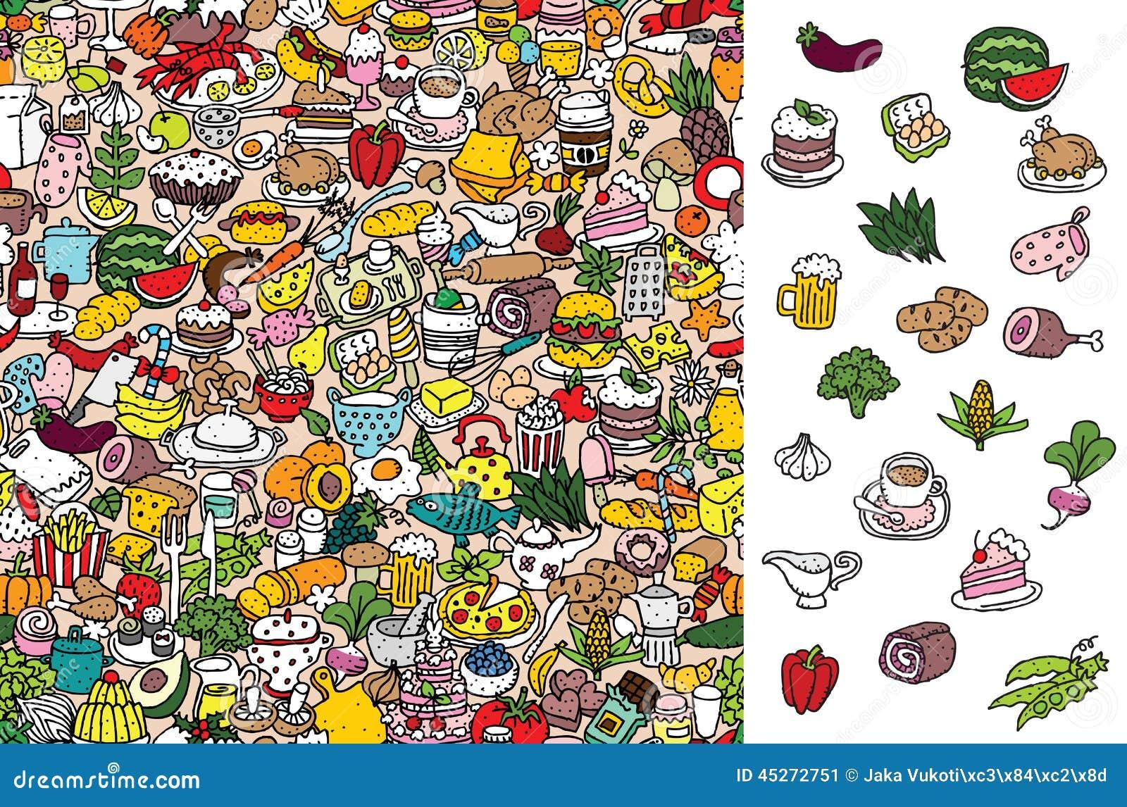 Znaleziska jedzenie, wizualna gra Rozwiązanie w chowanej warstwie!