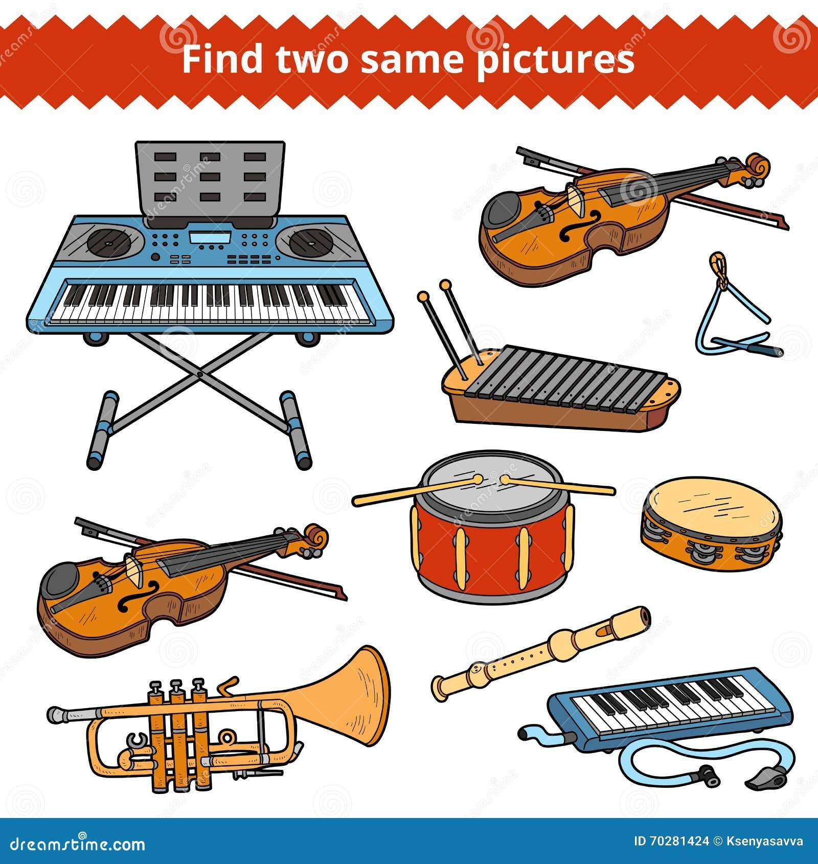 Znalezisko dwa to samo obrazki Wektorowy ustawiający instrumenty muzyczni