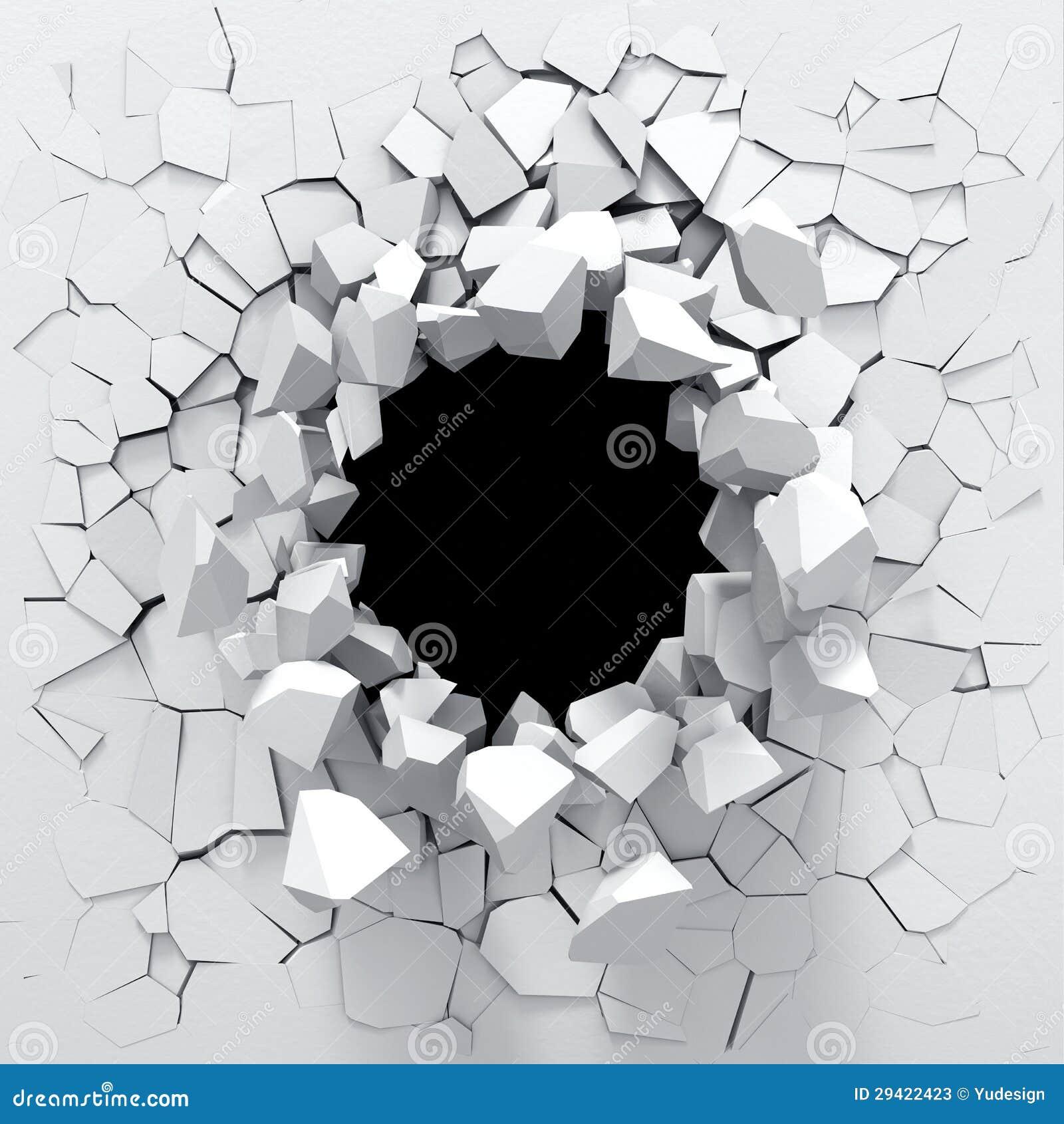 Zniszczenie biała ściana