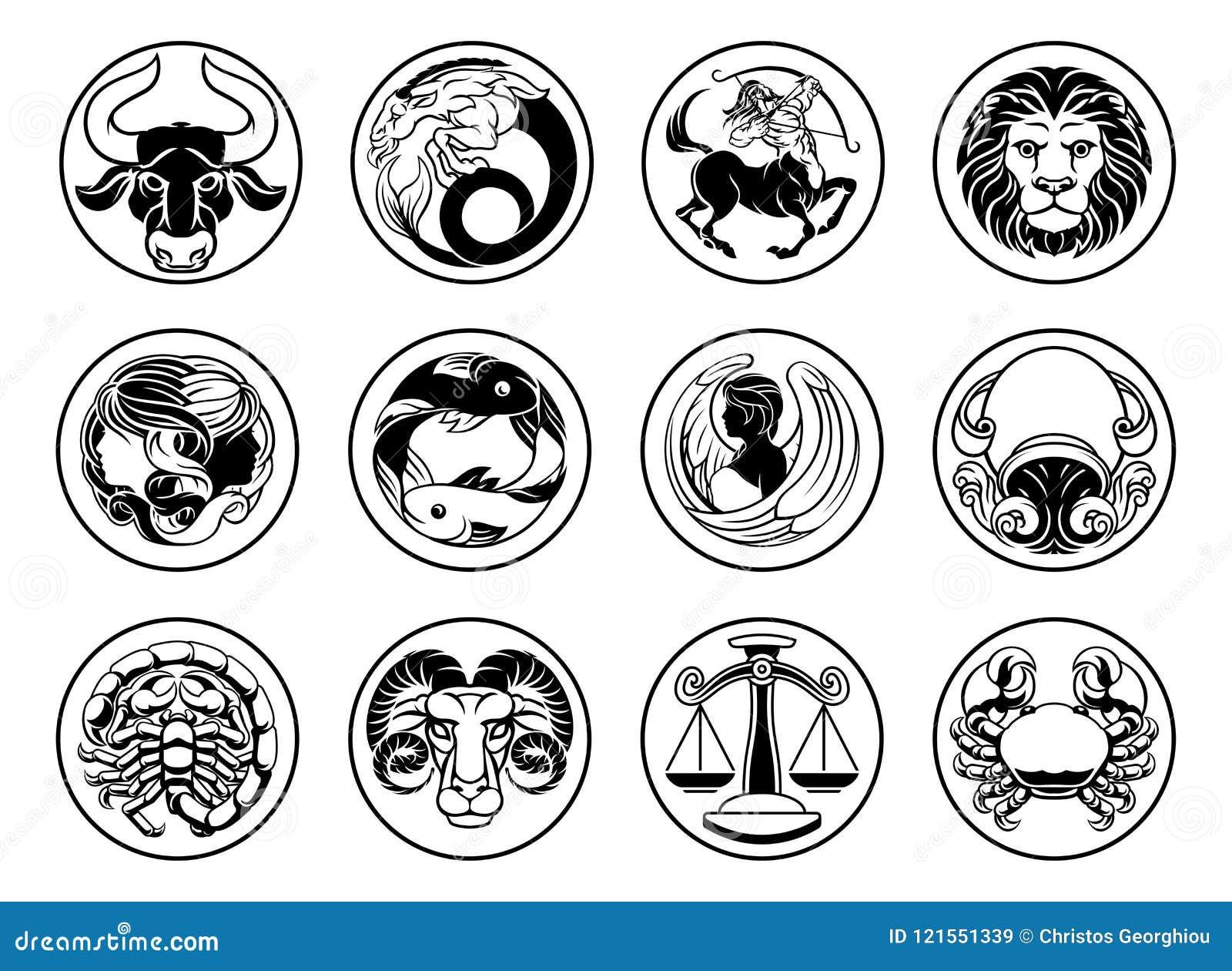 Zodiac Astrology Horoscope Star Signs Symbols Set Stock Vector