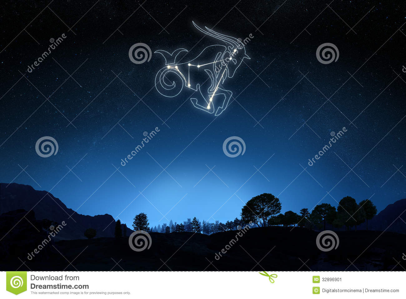 Zodiac Capricorn With A Star And Symbol Outline Stock Illustration