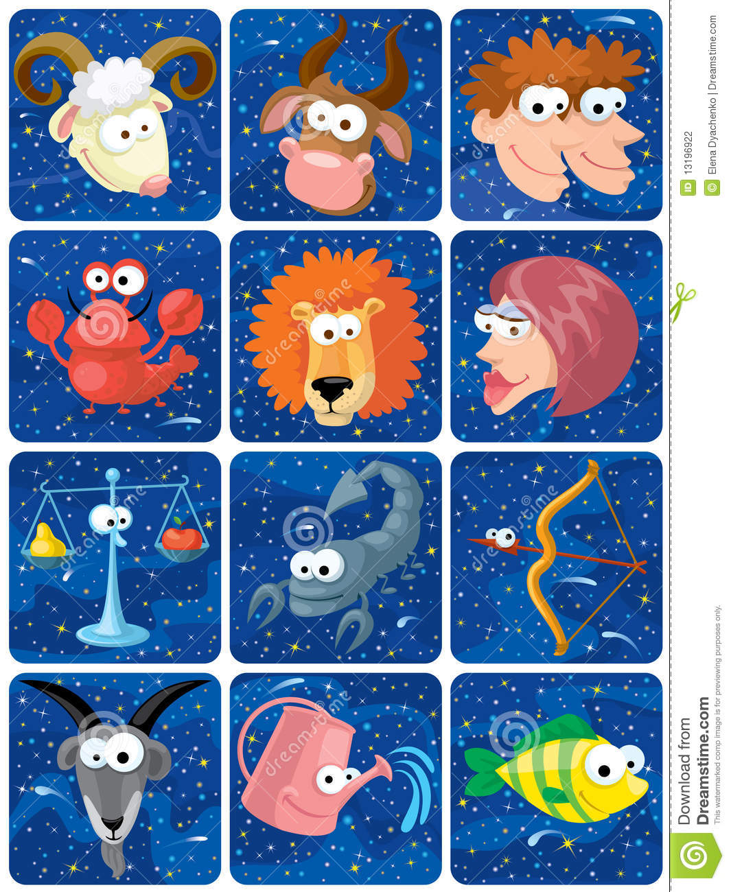 Download Zodiac characters stock vector. Illustration of fish - 13196922