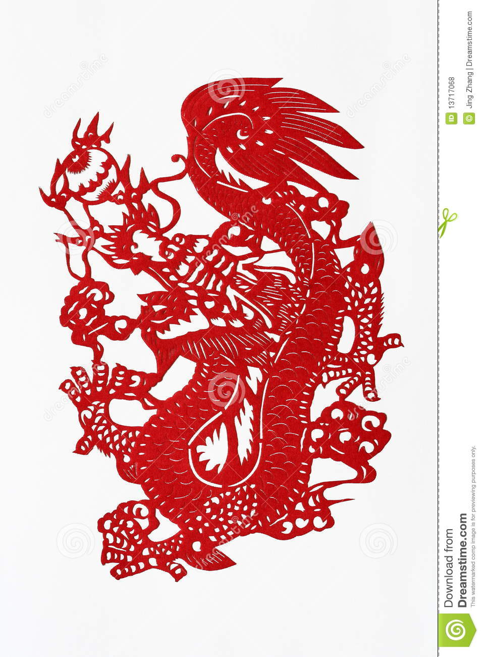 Zodiac chinese paper cutting dragon stock photo image for Chinese paper cutting templates dragon