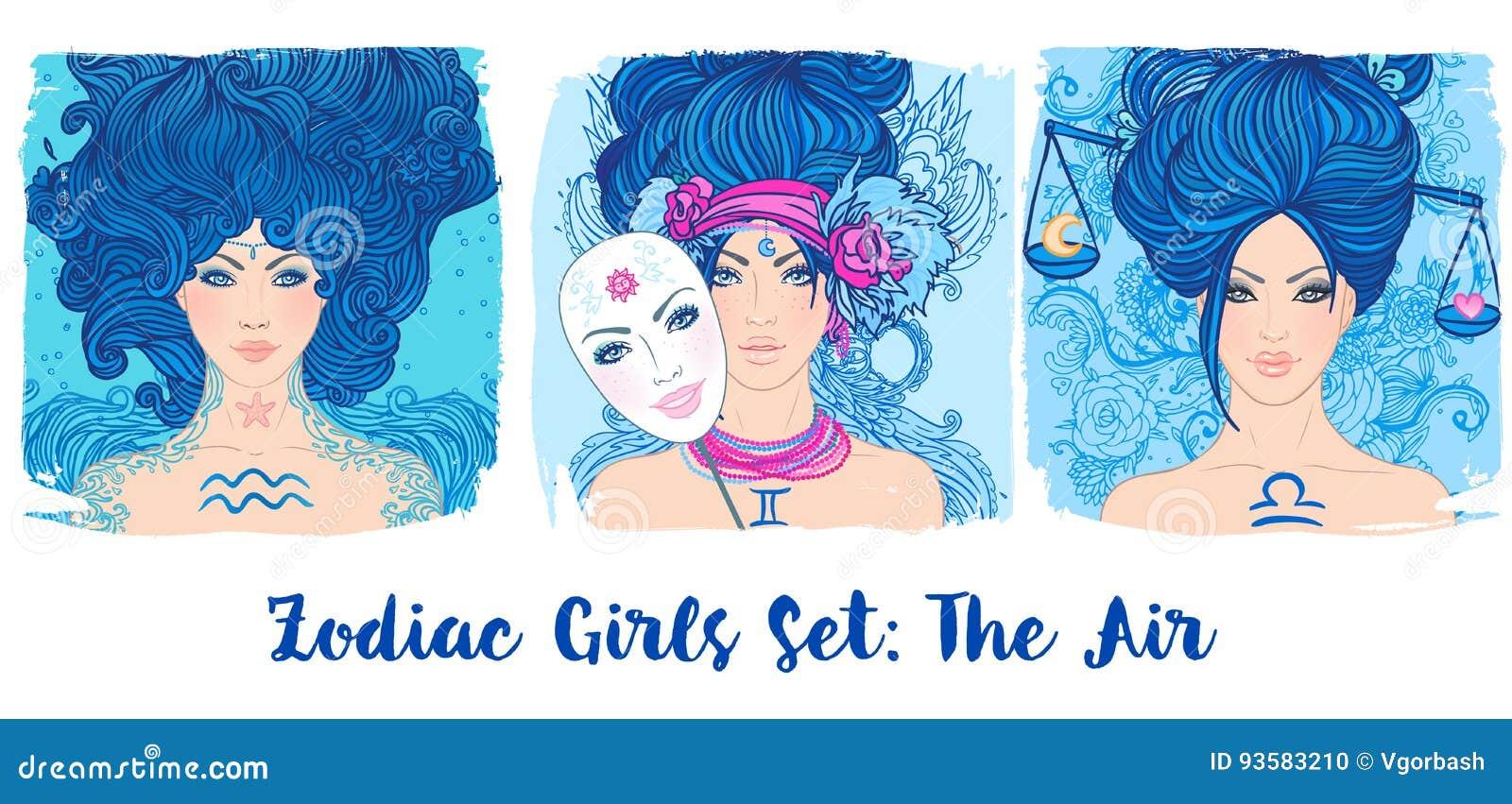 Zodiac Girls Set Air Vector Illustration Of Aquarius Gemini