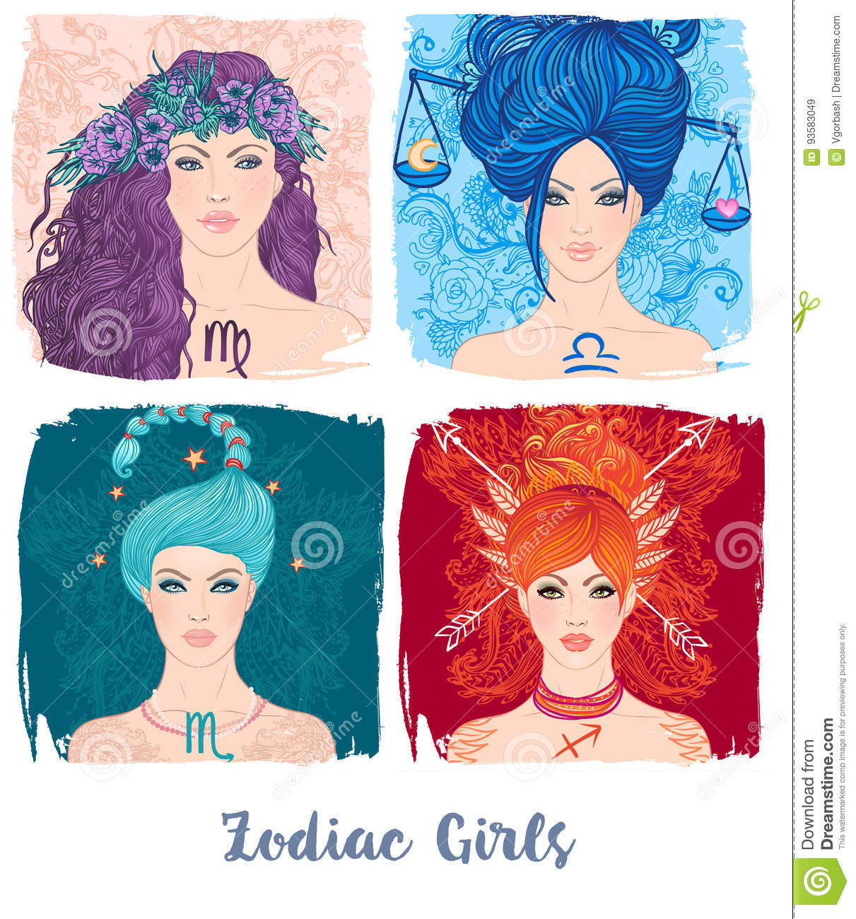 Zodiac Girls Set Vector Illustration Of Astrological Signs As A