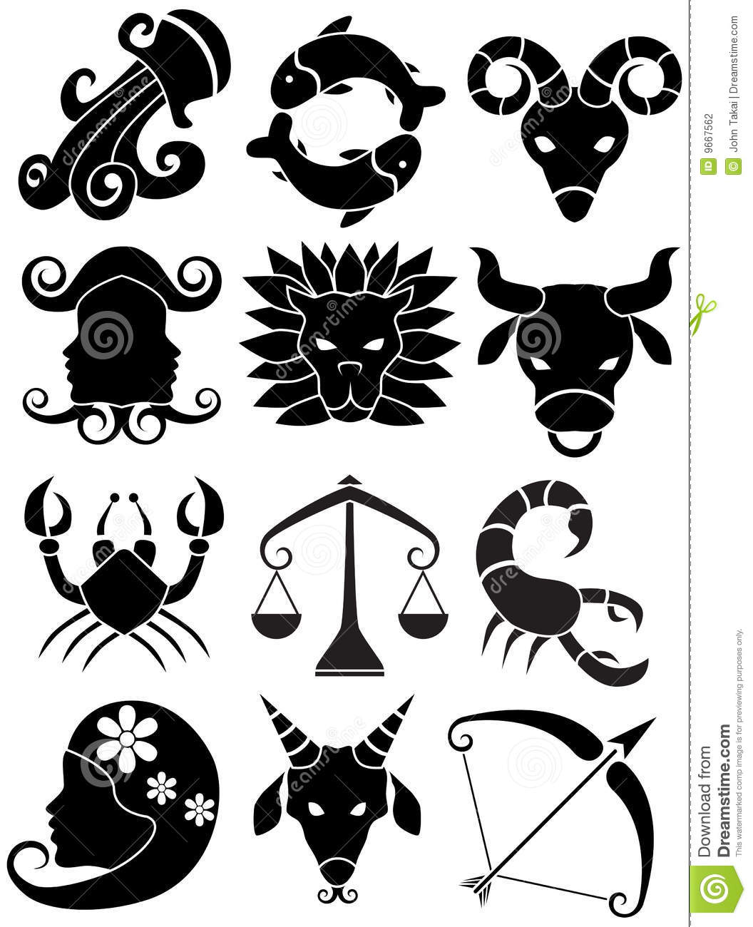 zodiac horoscope icons black and white stock vector illustration of guide gemini 9667562. Black Bedroom Furniture Sets. Home Design Ideas