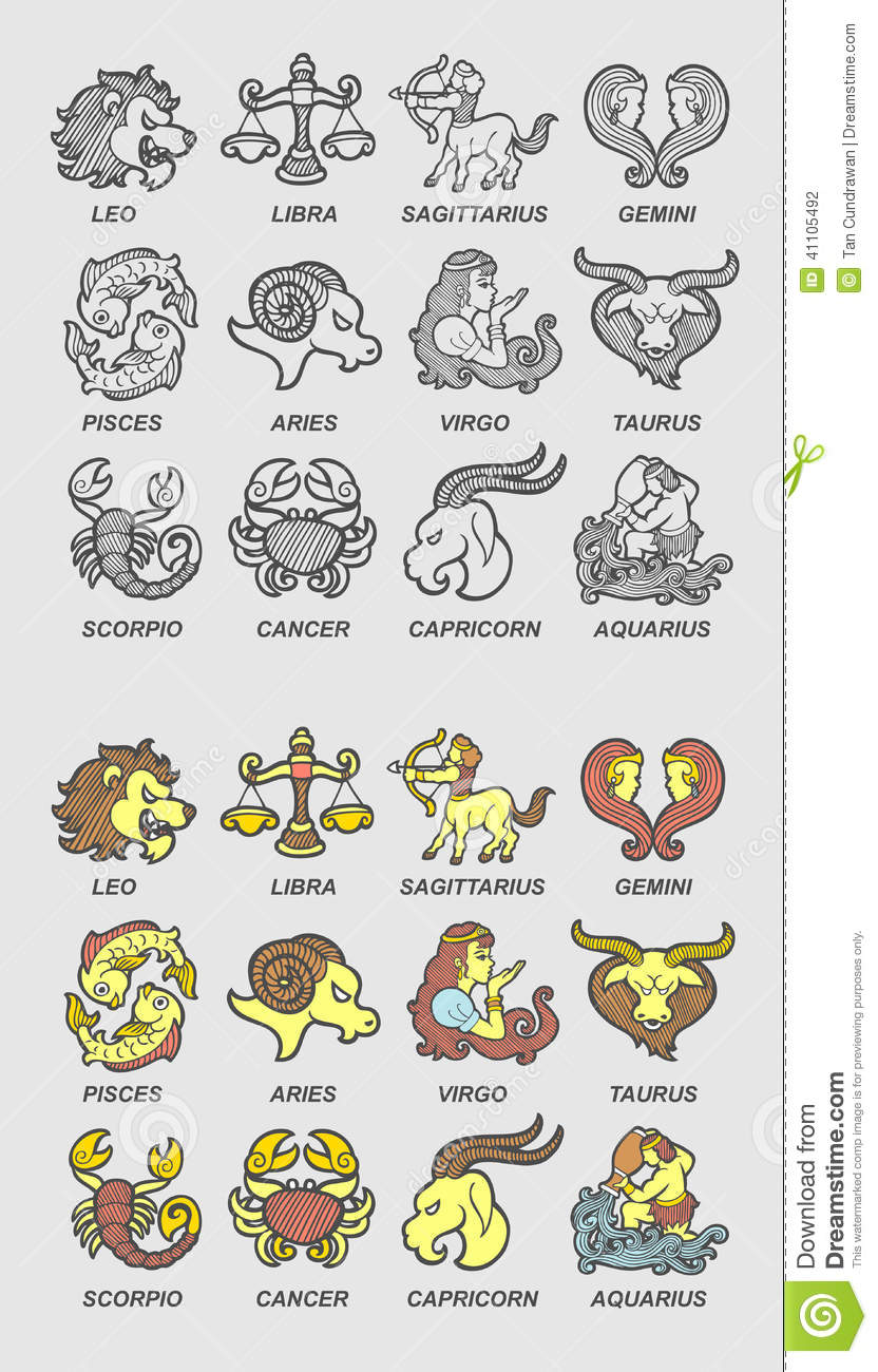 d2067a4c821 Unique drawing zodiac , monochrome and color. Good use for any design you  want. Easy to use or edit.