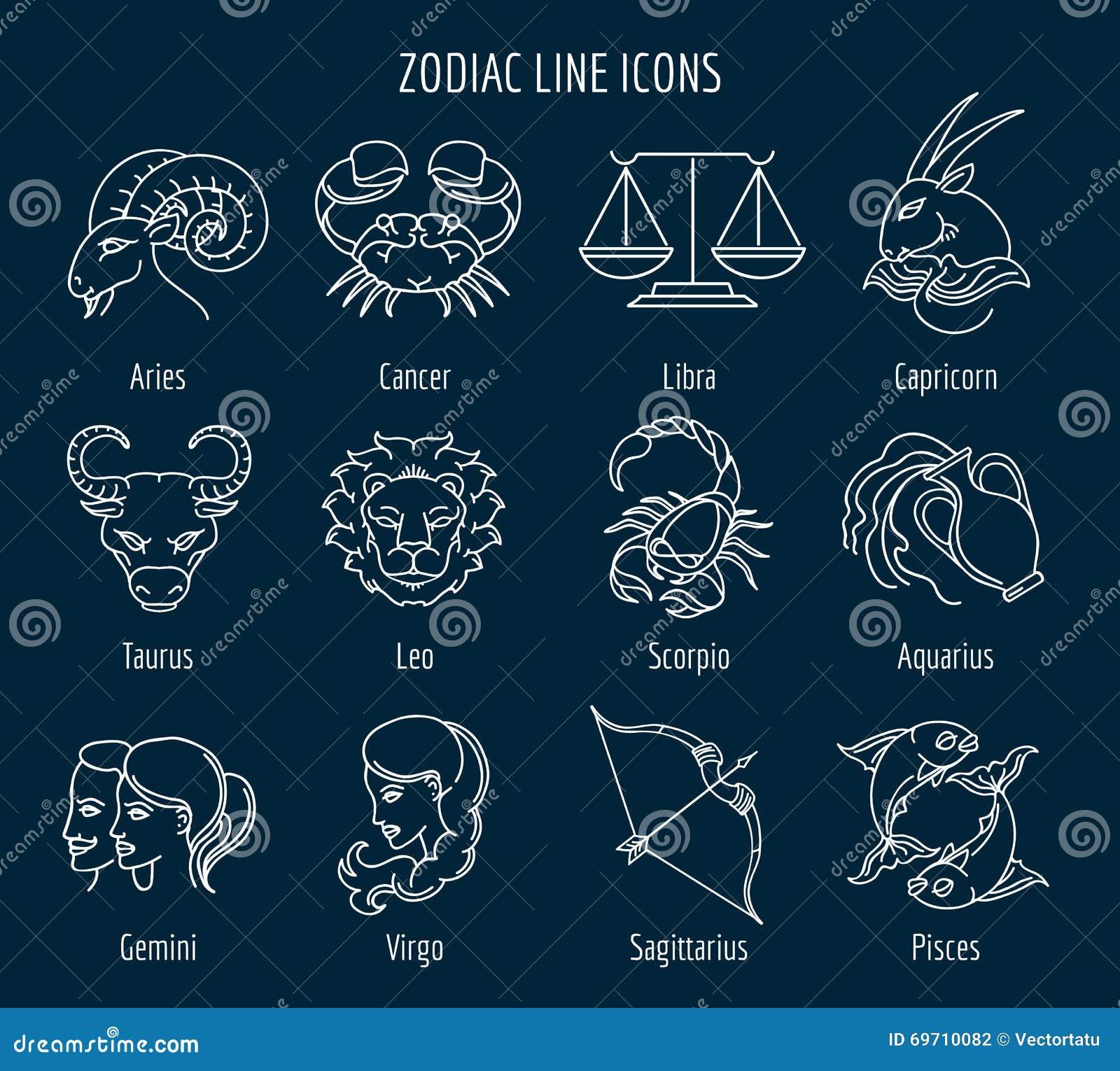 zodiac line icons stock vector image of libra centaur