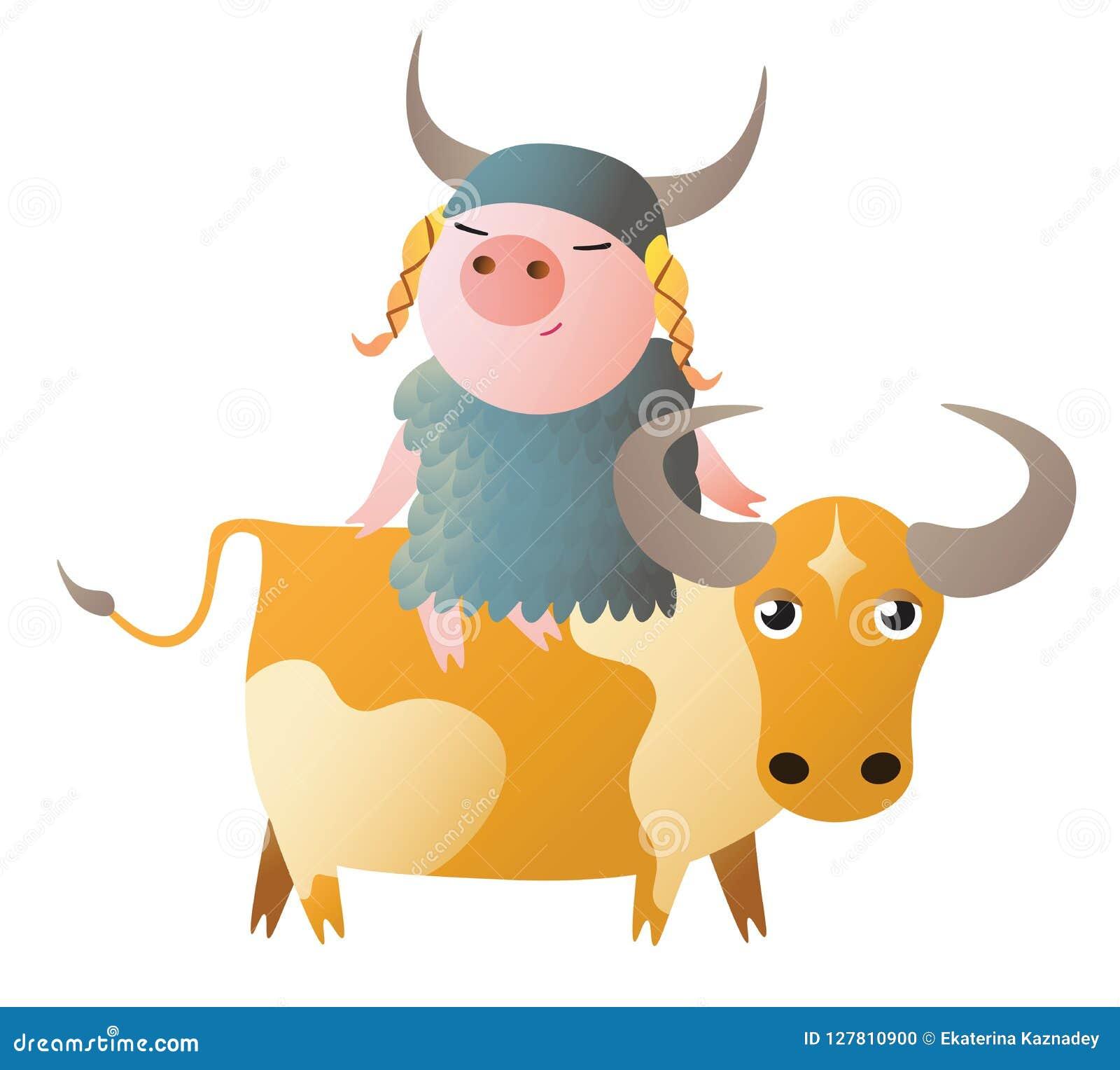 Zodiac Pig Taurus  Chinese Horoscope Symbol 2019 Year  Stock