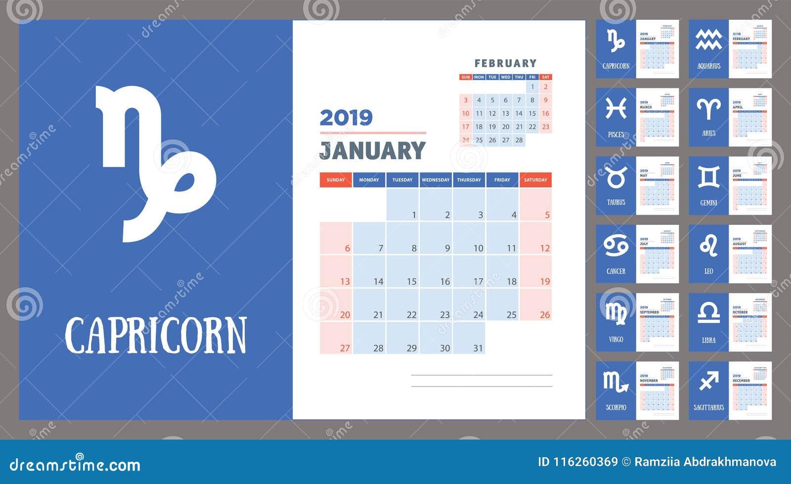 2019 Zodiac Planner  Vector Callendar  Week Starts On Sunday Stock