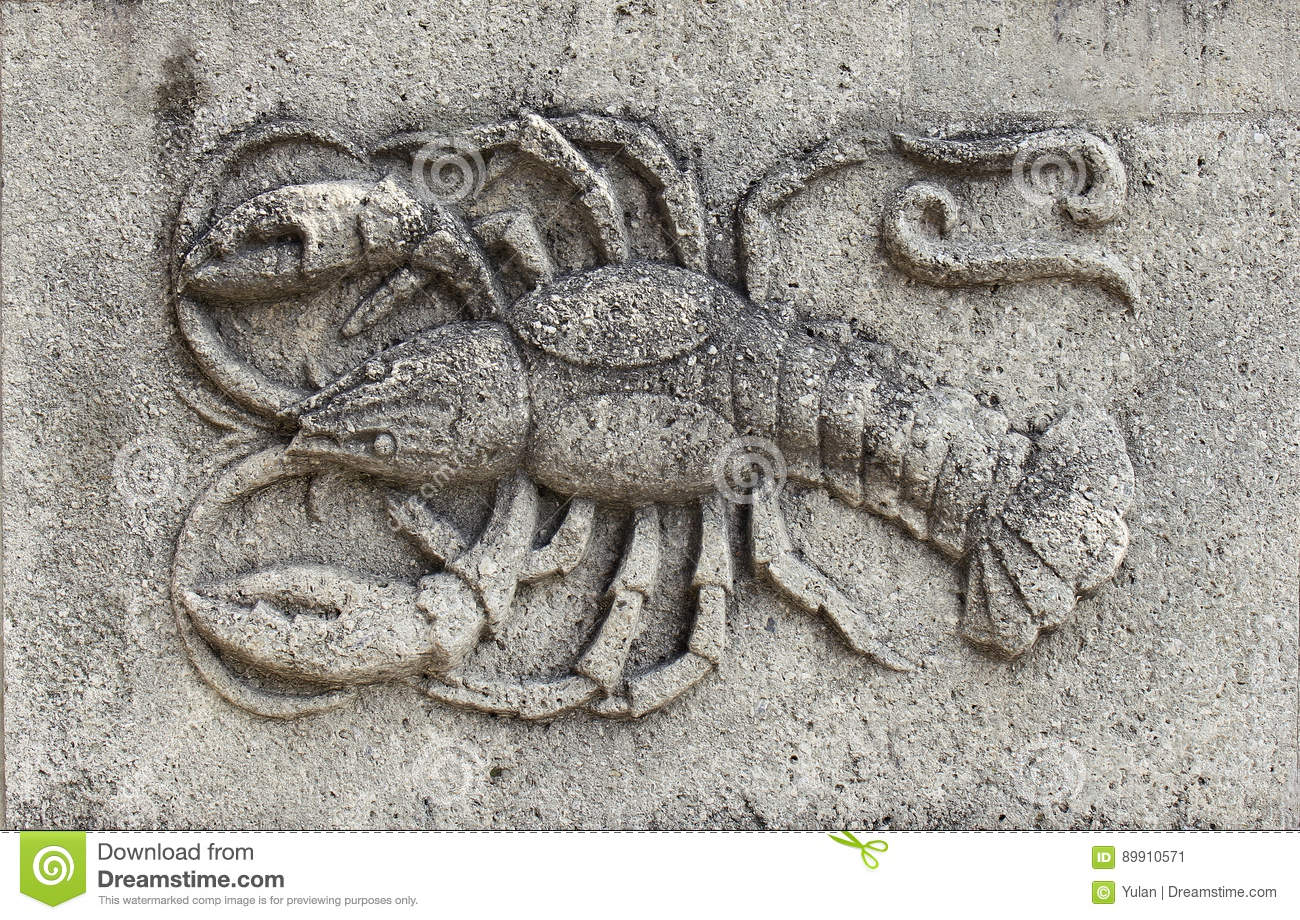 Zodiac - Cancer or Crab, a stone relief
