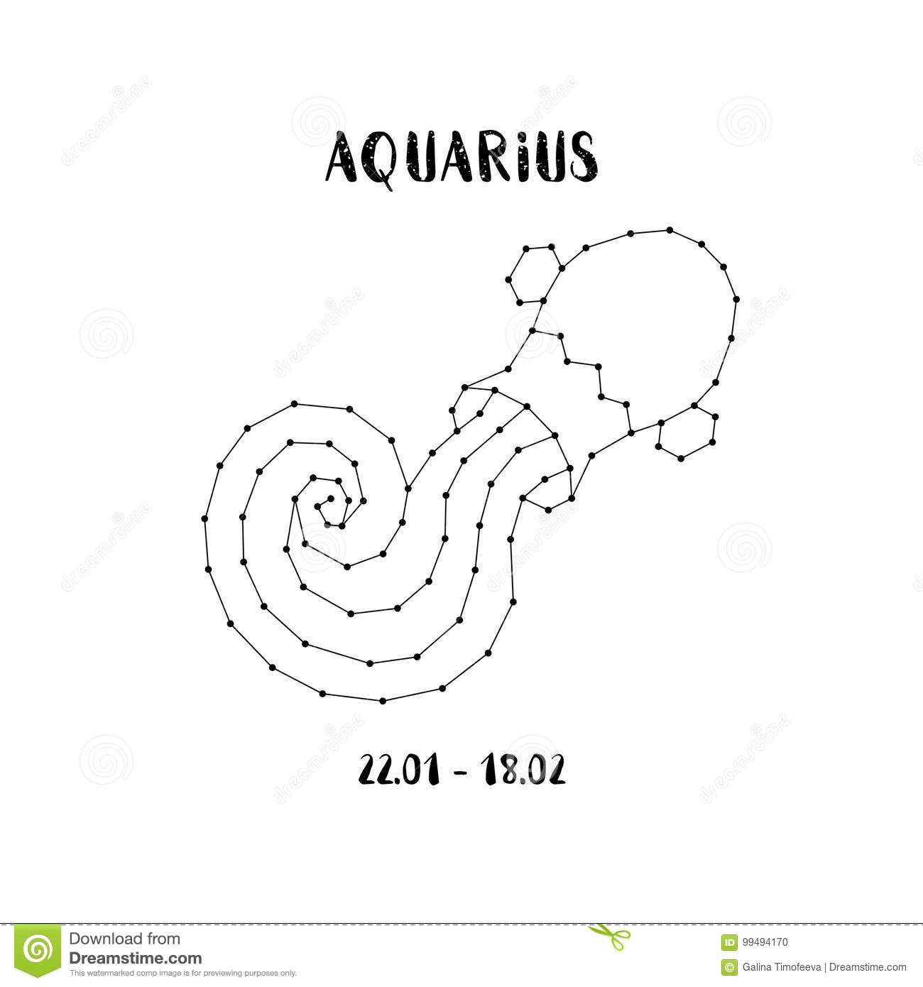 Zodiac Sign Aquarius Design Element For Flyers Or Greeting Cards