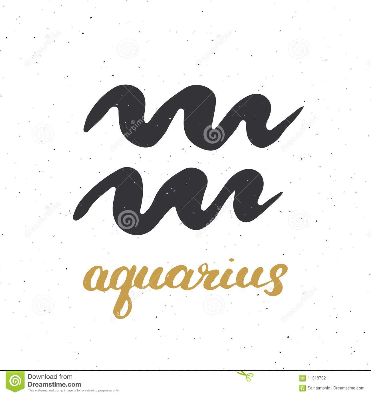 Zodiac Sign Aquarius And Lettering Hand Drawn Horoscope Astrology