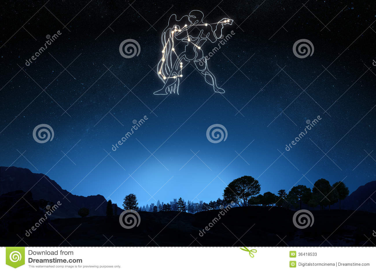 Zodiac Sign Aquarius Stock Illustration Illustration Of January