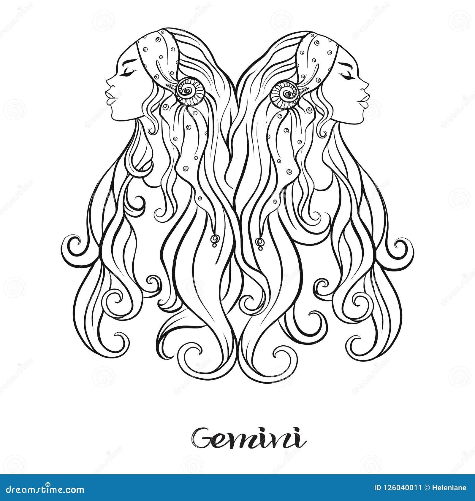 Gemini Coloring Pages Stock Illustrations – 28 Gemini Coloring ... | 1690x1600