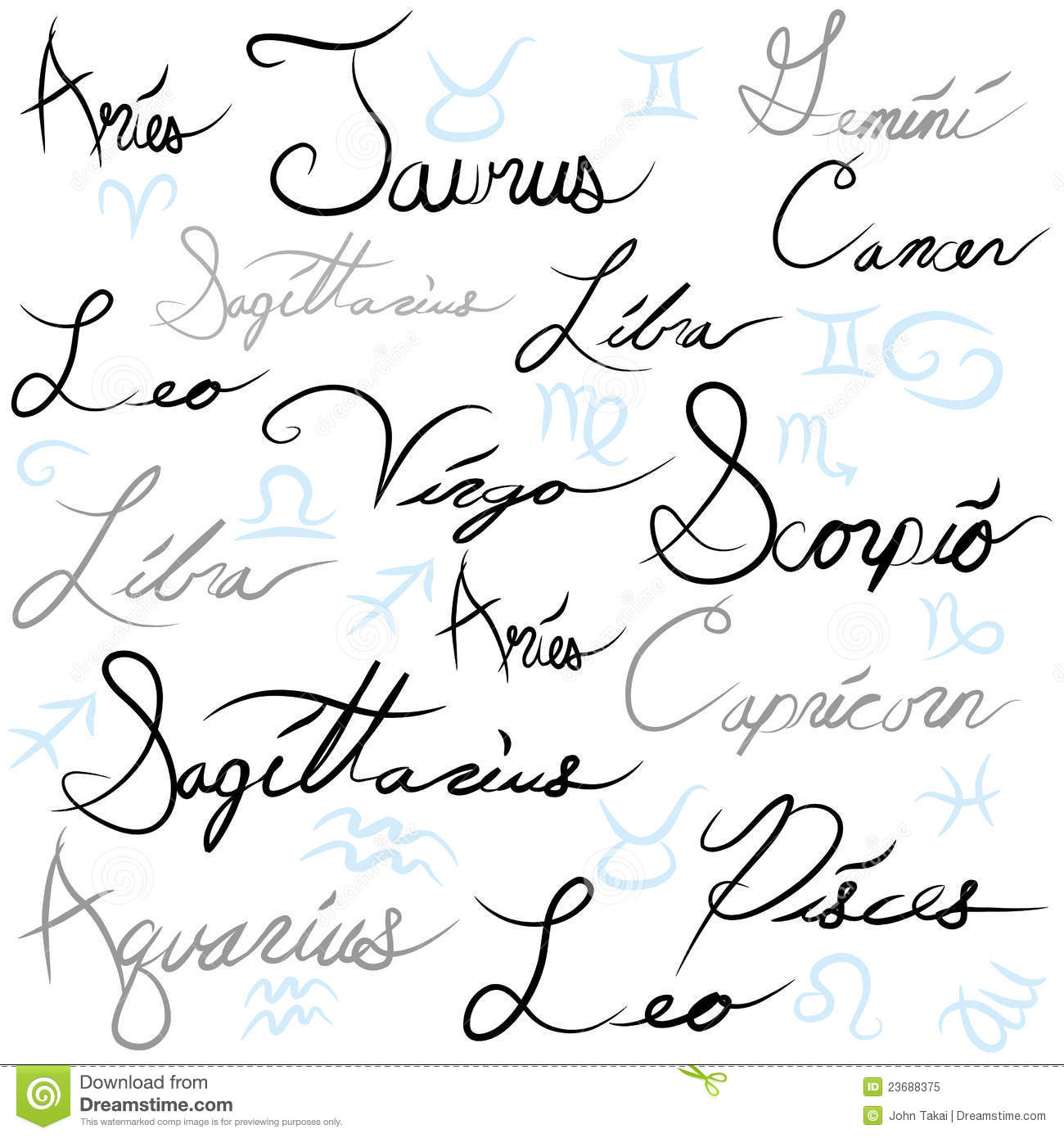 Zodiac Sign Calligraphy Stock Vector Image Of Elegant