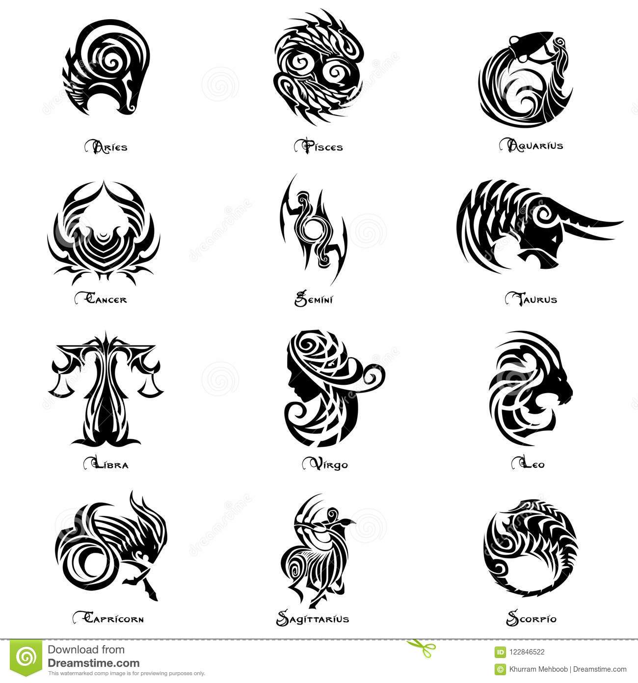 Zodiac Sign Complete Set Tattoo Style Stock Vector - Illustration of