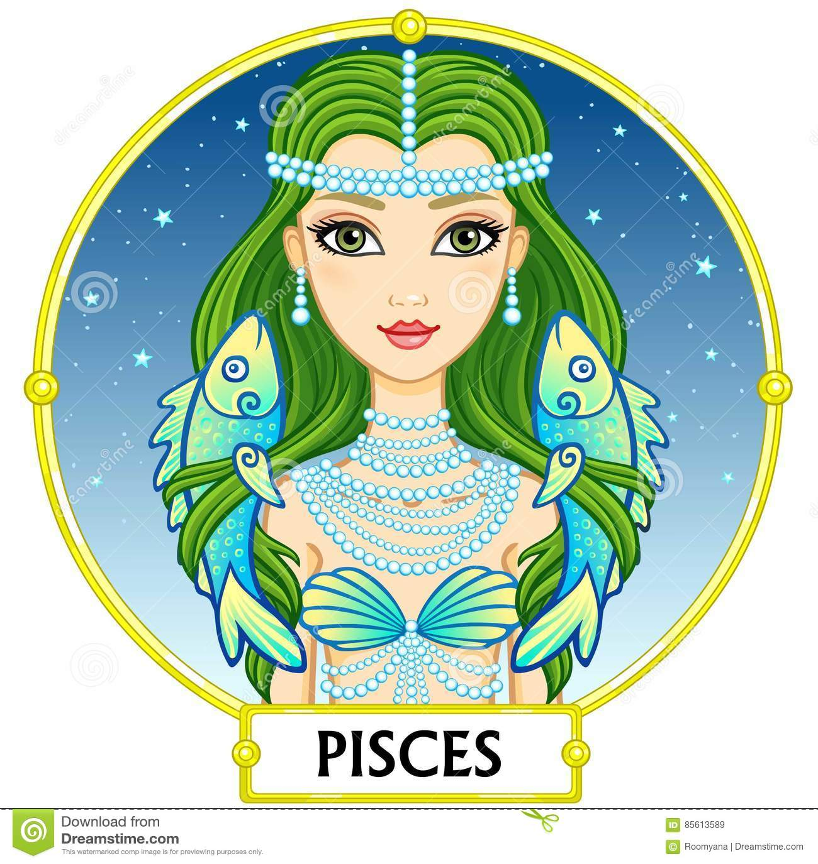 Zodiac Sign Pisces Cartoon Vector