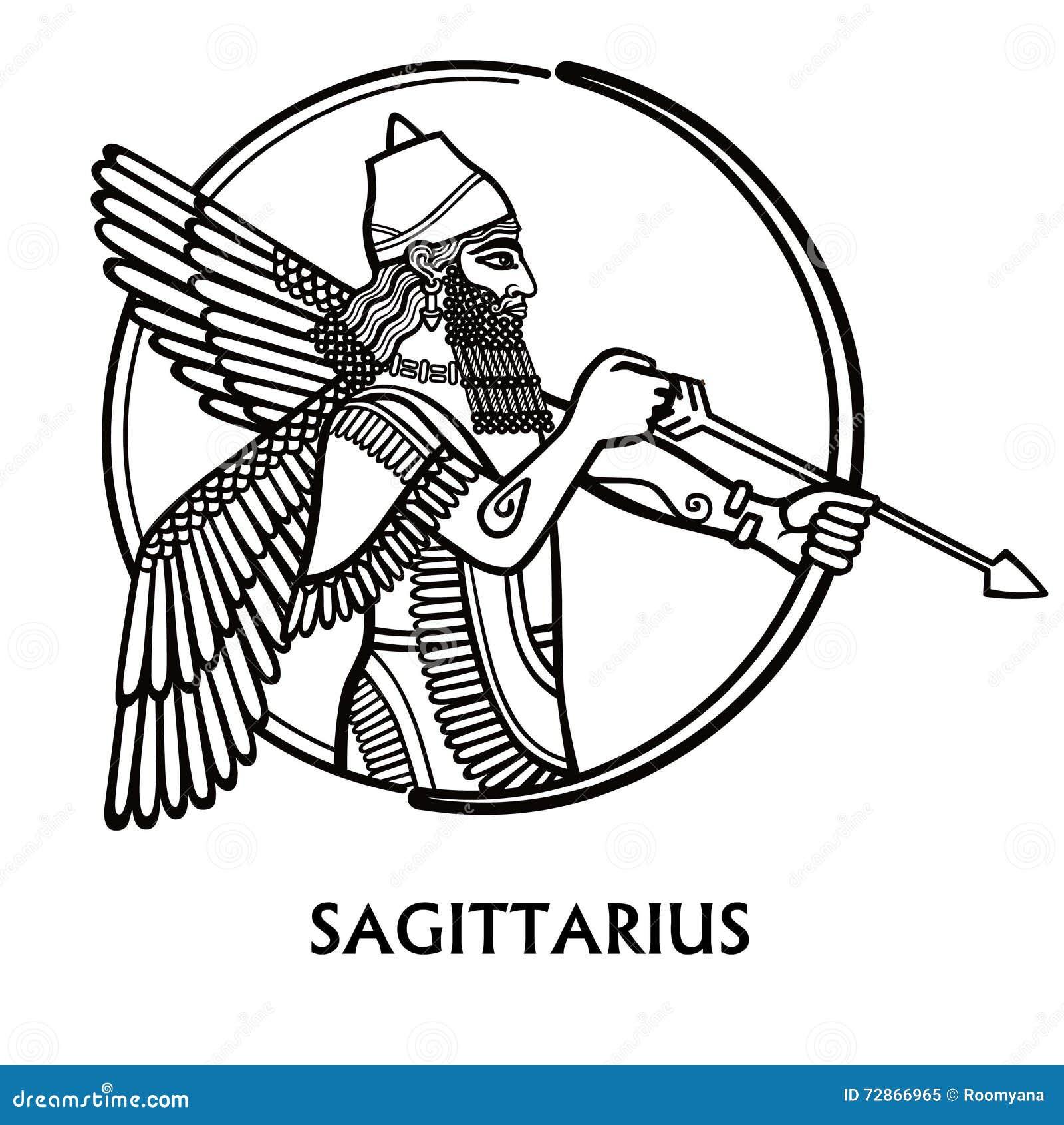 Zodiac Line Drawing : Zodiac sign sagittarius vector art black and white