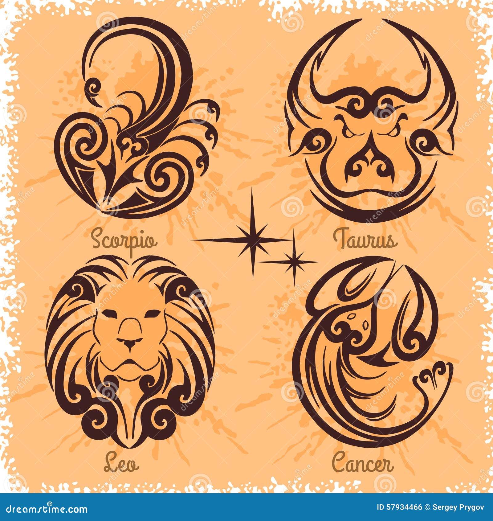 zodiac signs cancer leo taurus scorpio stock vector. Black Bedroom Furniture Sets. Home Design Ideas