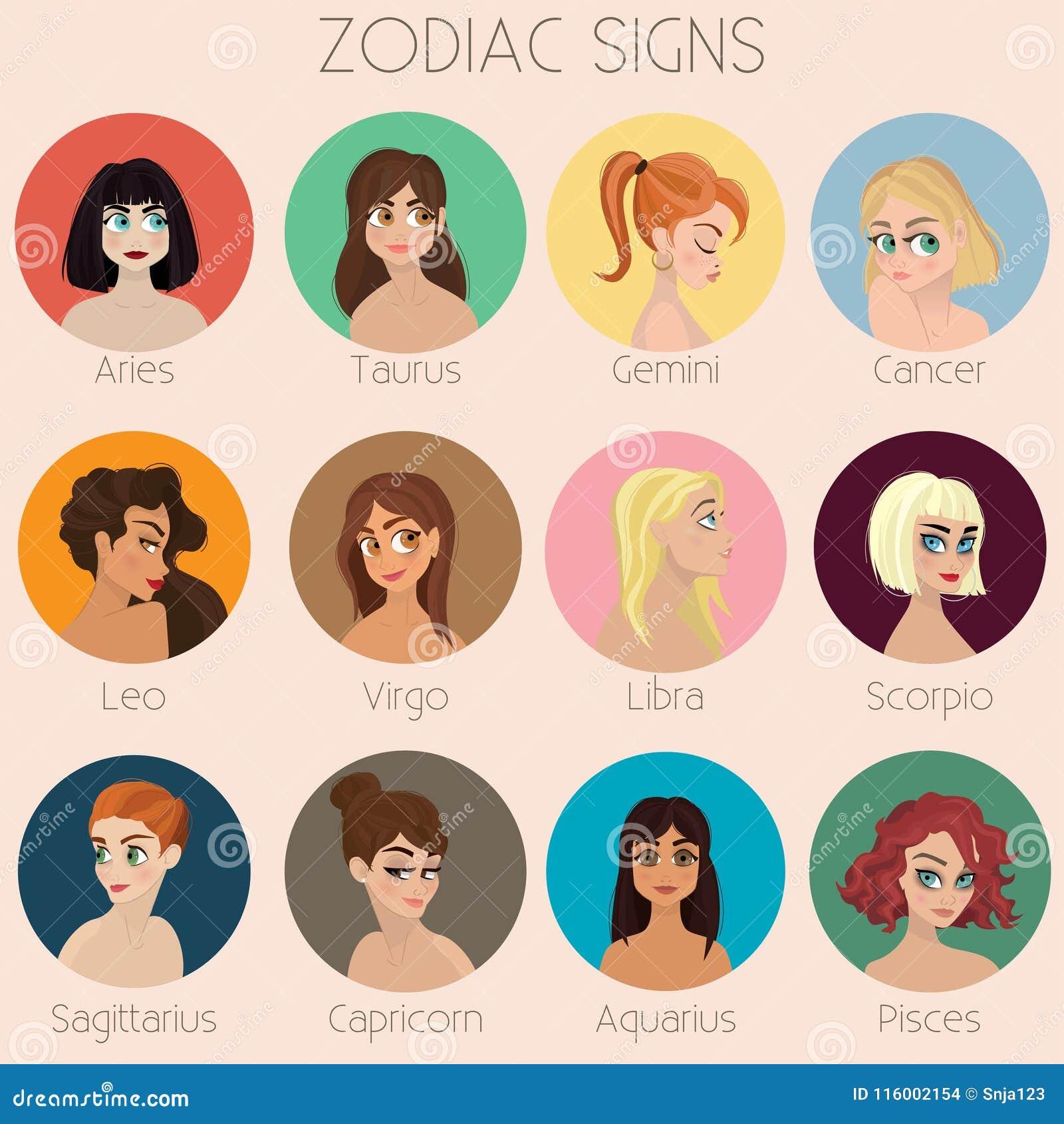 Zodiac Signs Character Design Girls Illustration Set Stock