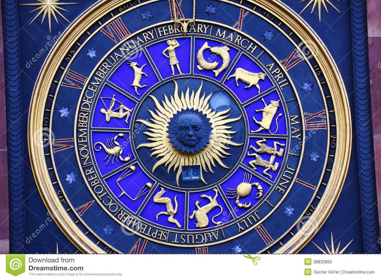 Zodiac Signs On Clock Stock Photo Image 38832865