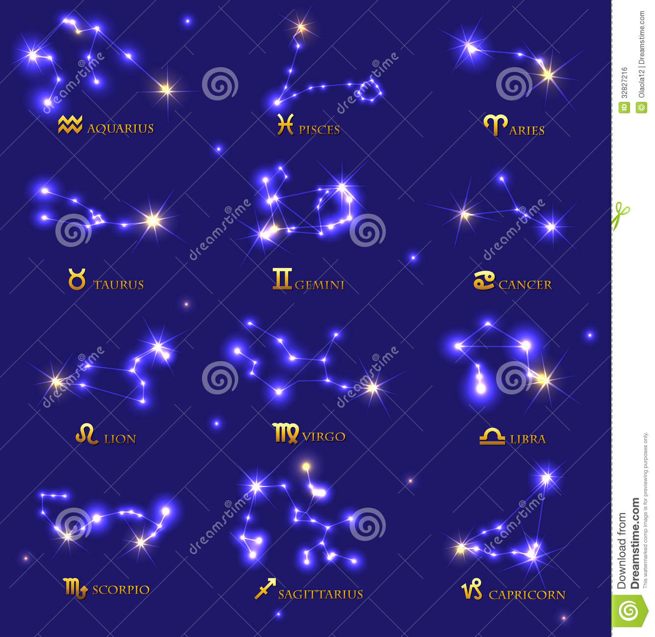 All Constellations Of The Zodiac Zodiac signs Royalty Free