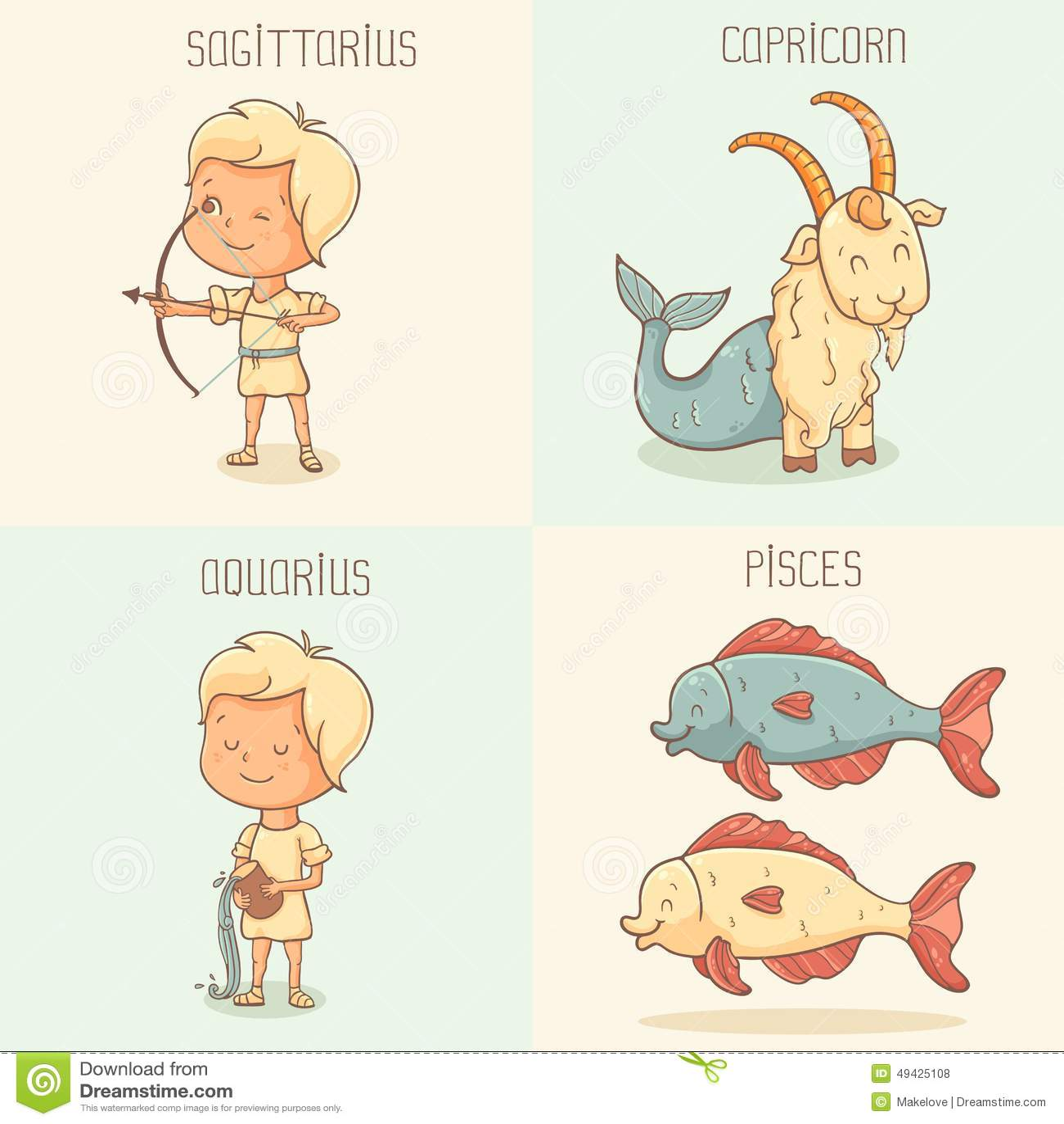 Zodiac signs cute cartoon characters stock vector illustration zodiac signs cute cartoon characters buycottarizona Images