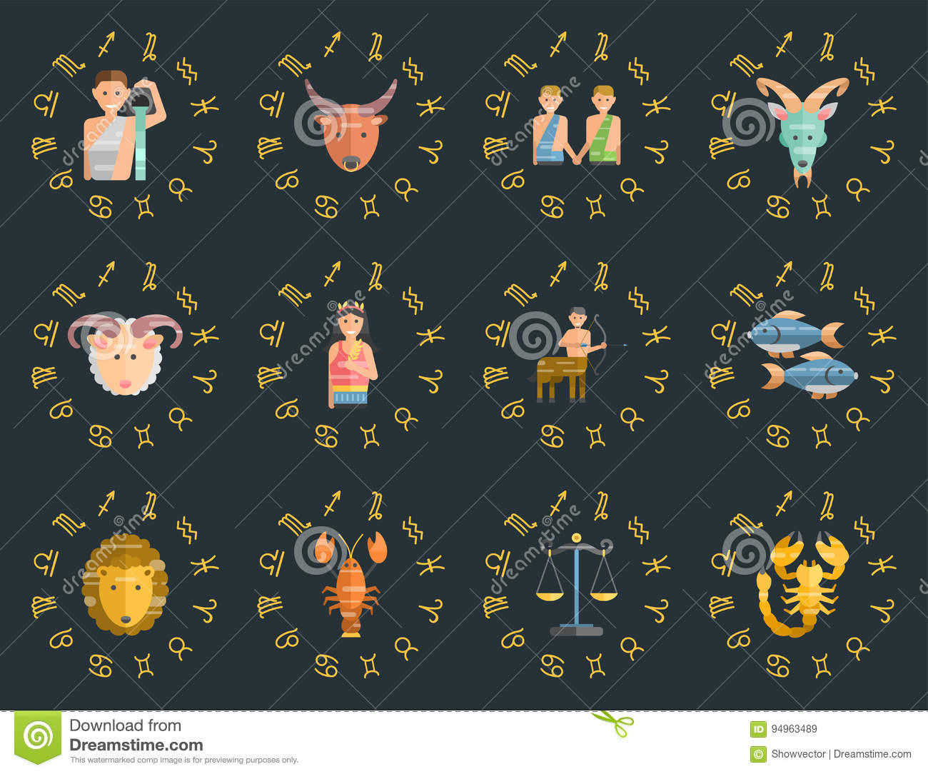 Zodiac Signs Flat Set Of Horoscope Symbols Star Collection Astrology