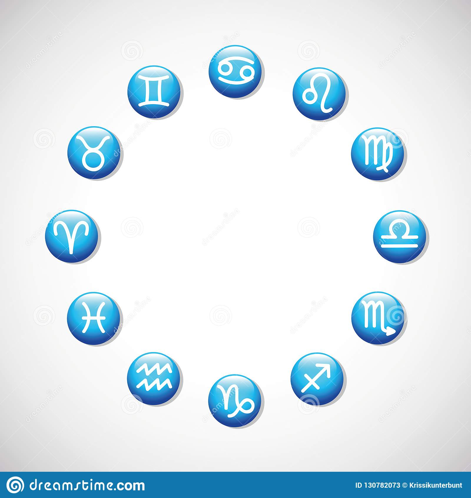 Zodiac Signs Horoscope Astrological Symbols In A Circle Stock Vector
