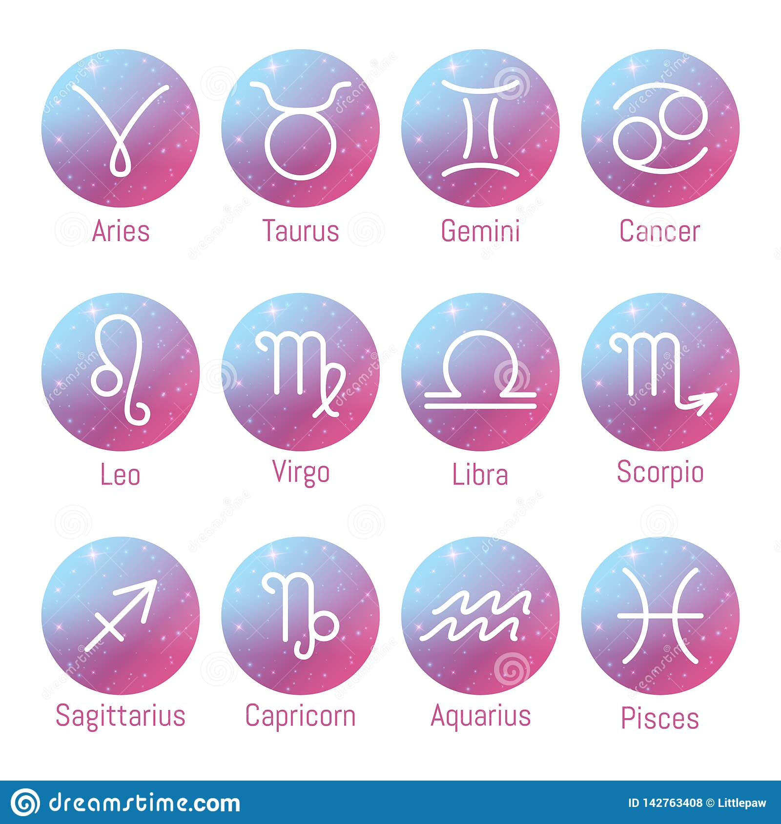 Zodiac Signs Icons, Horoscope Symbols Set, Vector Illustration Stock