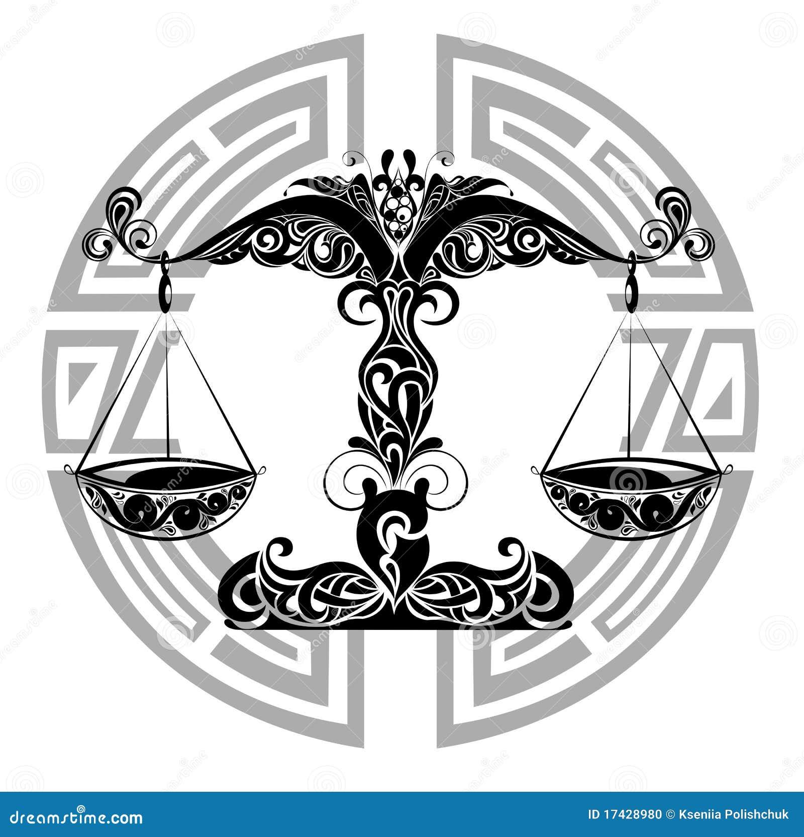 Libra.Tattoo Design Stock Vector